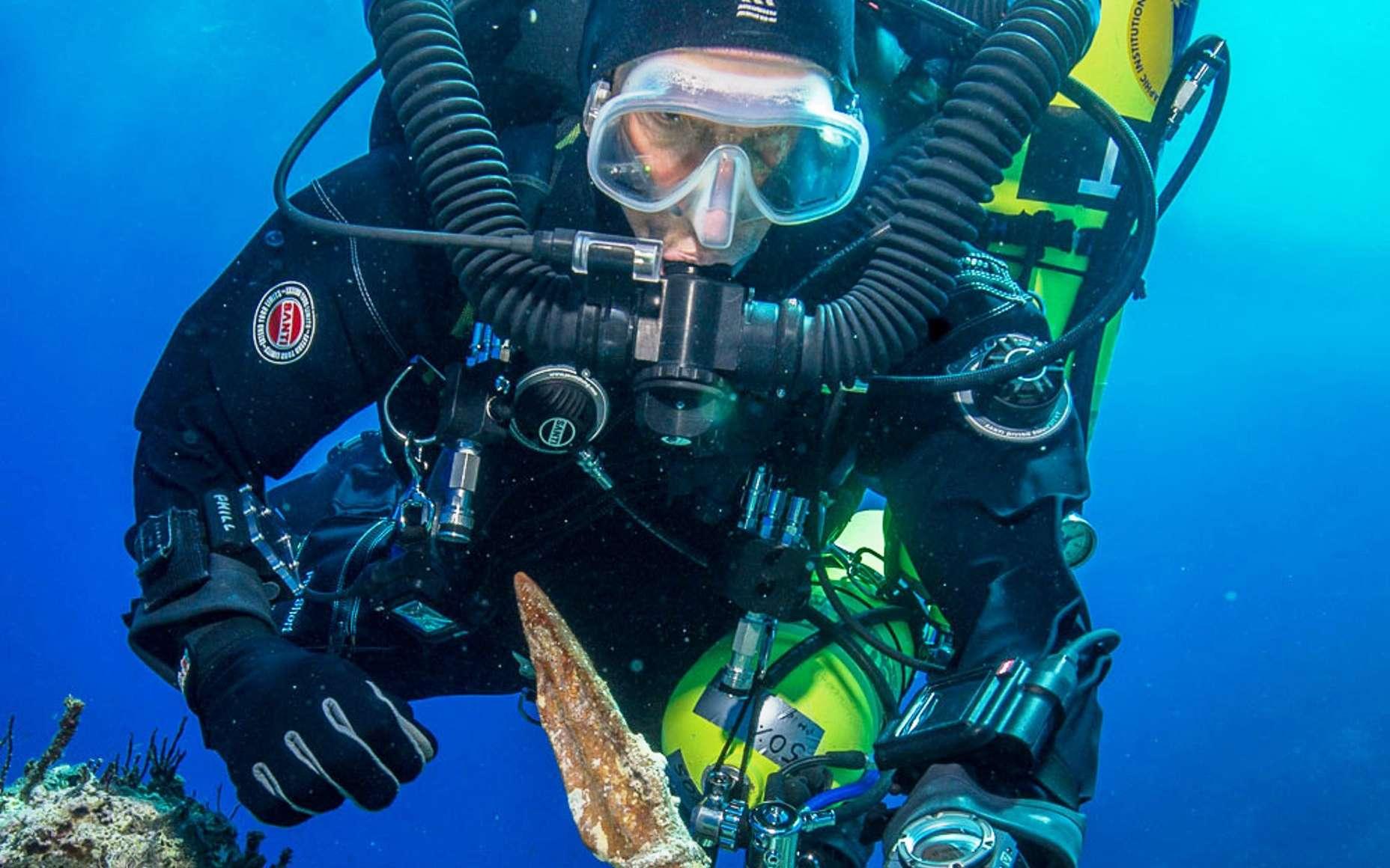 Un des plongeurs du projet Retour à Anticythère, qui explore depuis quelques années l'épave éponyme. Il tient dans sa main une lance de bronze. Plusieurs statues en marbre de l'Antiquité tenaient de tels objets. © Brett Seymour, EUA-WHOI-Argo