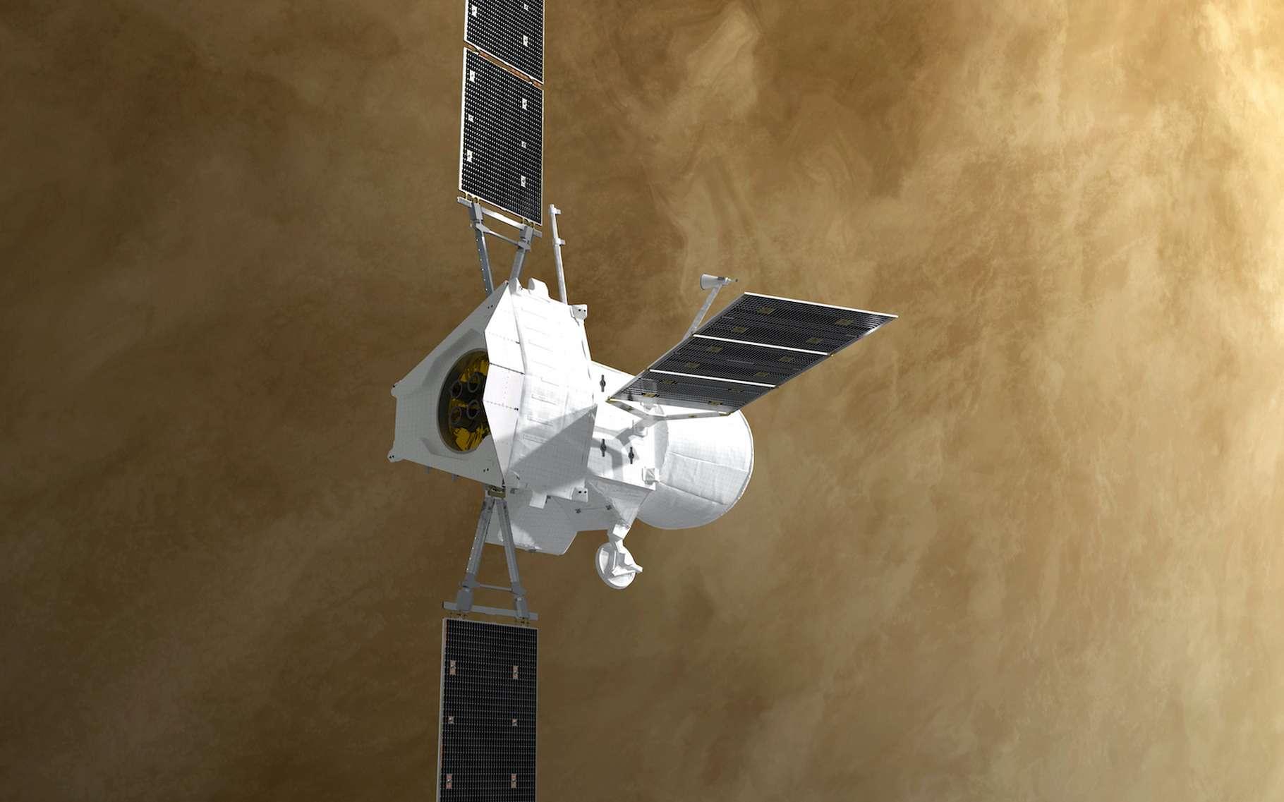 Une vue d'artiste du passage de la sonde BepiColombo au-dessus de Vénus, le 10 août 2021. © ESA, ATG medialab
