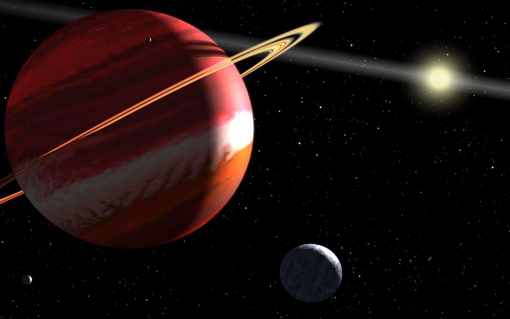 Le système planétaire d'Epsilon Eridani. Représentation du système planétaire d'Epsilon Eridani (une étoile naine orange), situé à 10,5 années-lumière de nous. © Nasa/Esa/G. Bacon