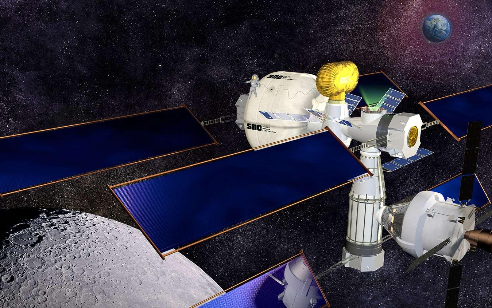 Concept de poste avancé en orbite cislunaire proposé par la société Sierra Nevada dans le cadre du programme NEXTStep de la Nasa. © Sierra Nevada