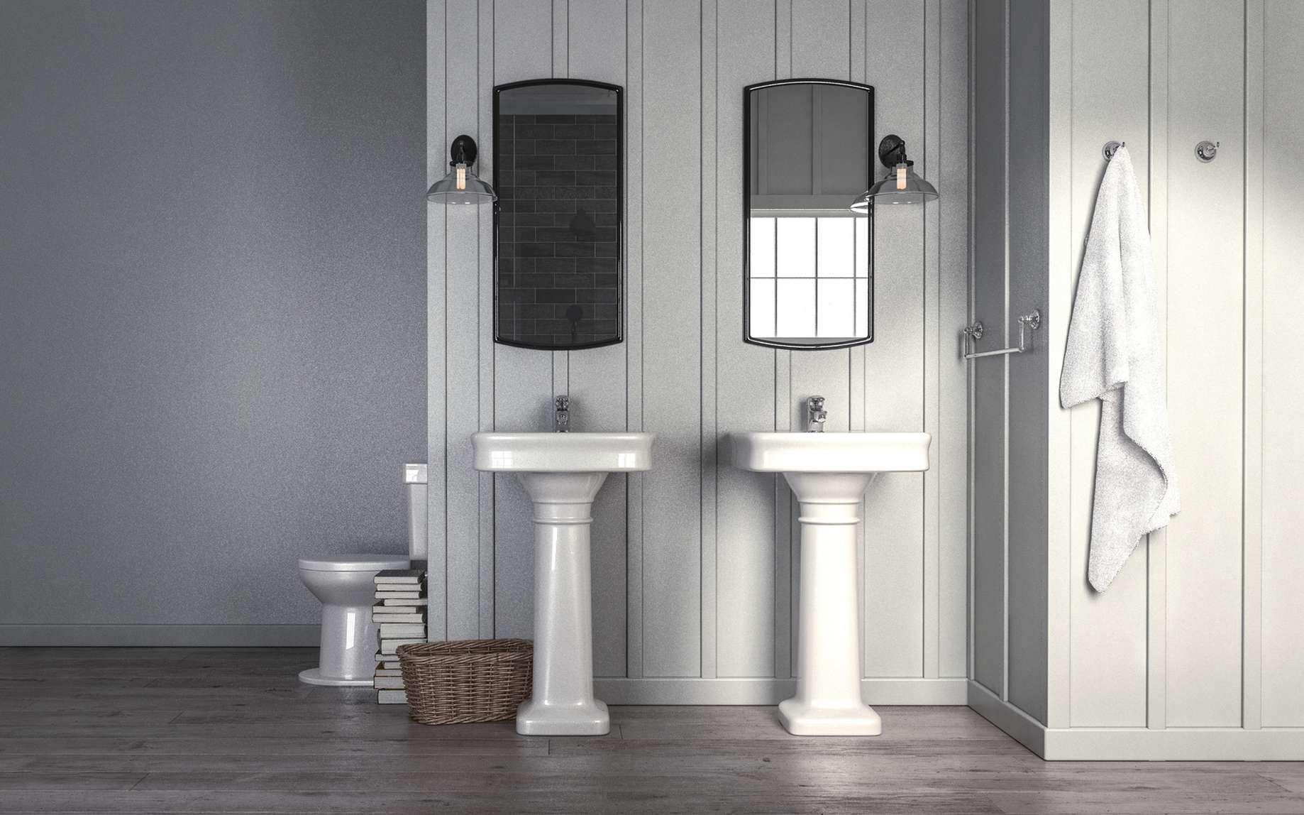Lavabos en porcelaine sur leur colonne pour une salle de bains au look très vintage. © XtravaganT, Fotolia