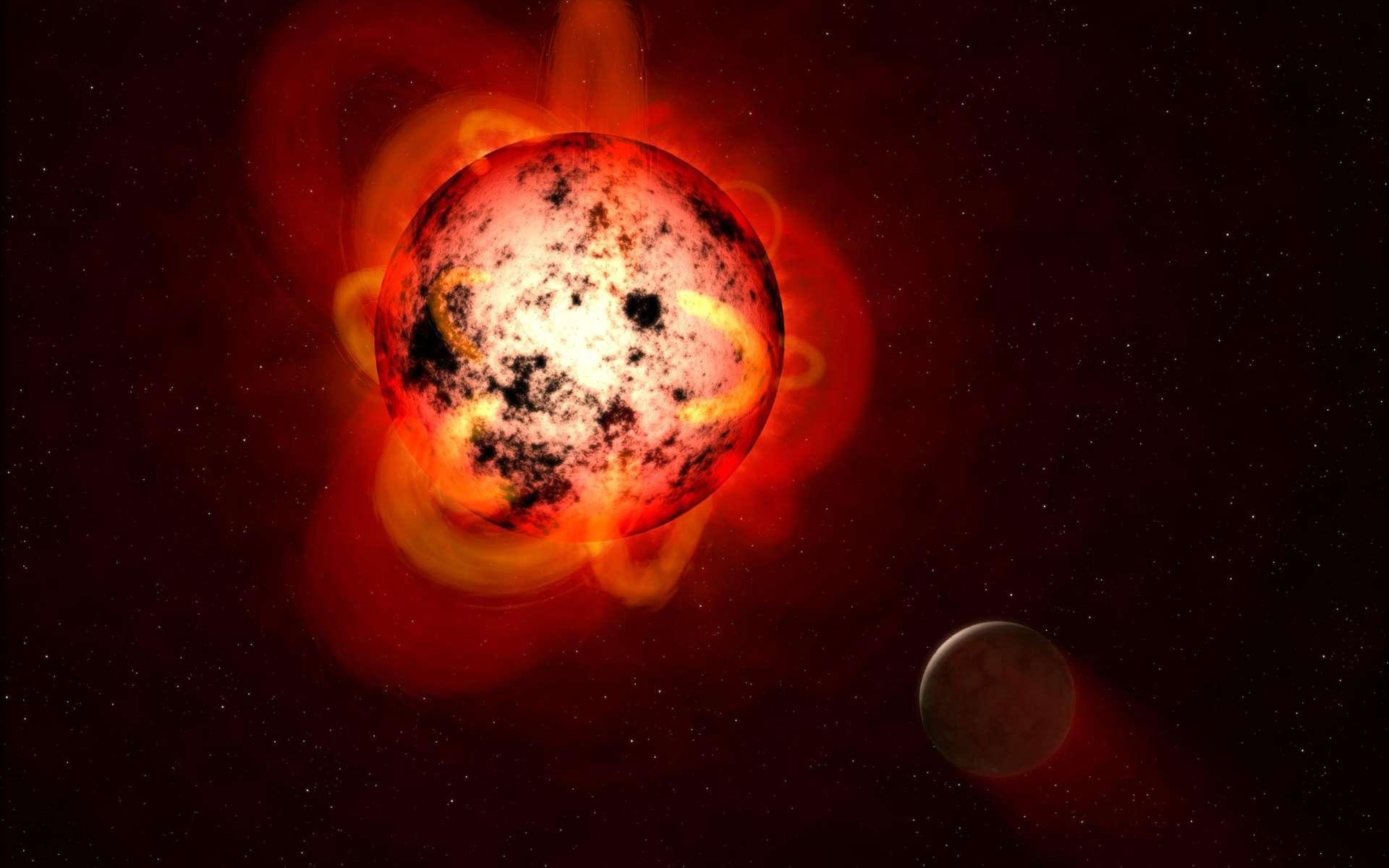 Illustration d'une planète rocheuse en orbite autour d'une naine rouge visiblement très active. © Nasa, ESA, G. Bacon (STScI)