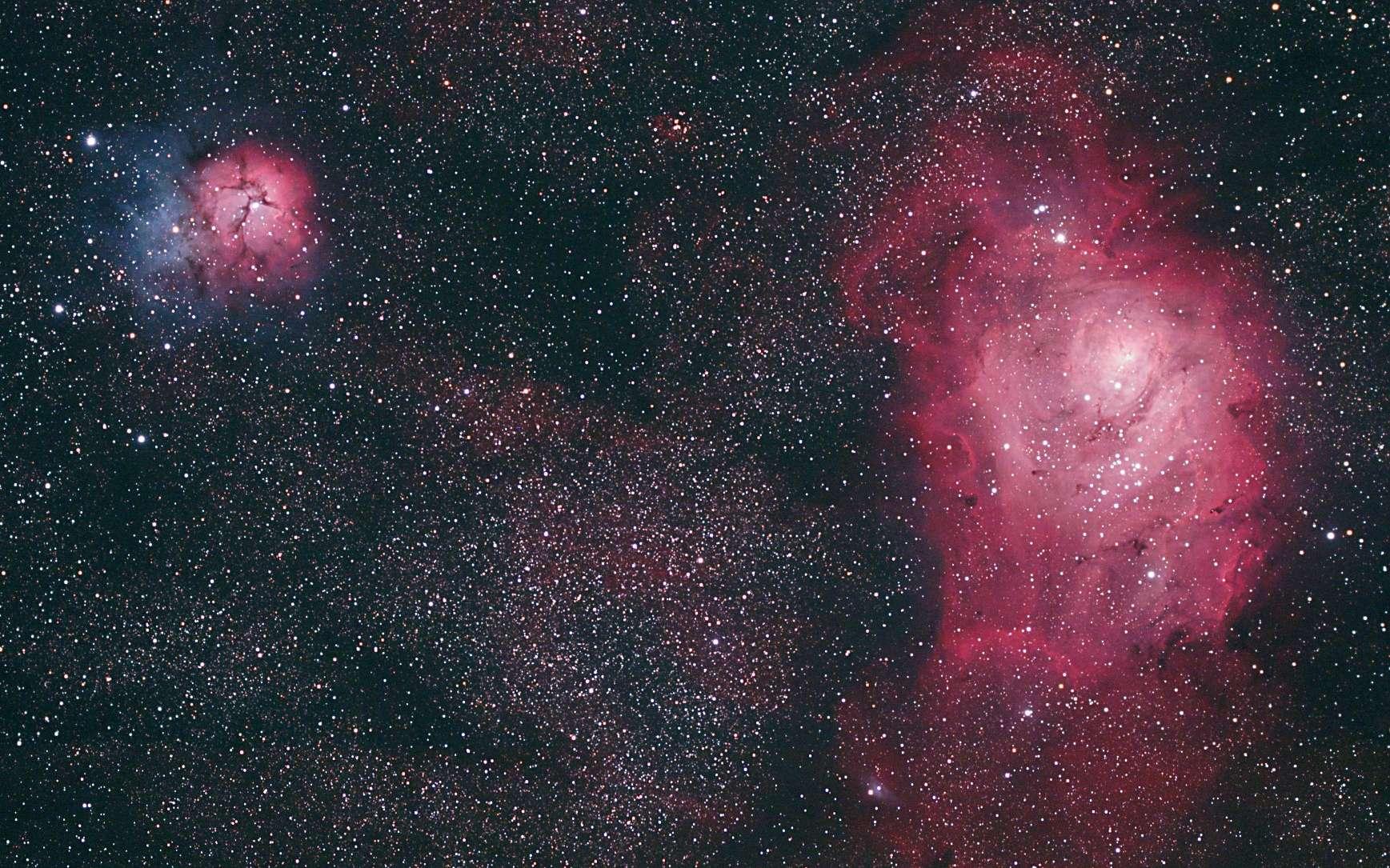 La nébuleuse Trifide (M20), à gauche, et celle de la Lagune (M8), à droite, sont observables dans la constellation du Sagittaire. Elles font partie des plus beaux objets astronomiques et sont présentées dans le livre de Dunod 101 merveilles du ciel qu'il faut avoir vues dans sa vie. © Emmanuel Beaudoin, Dunod