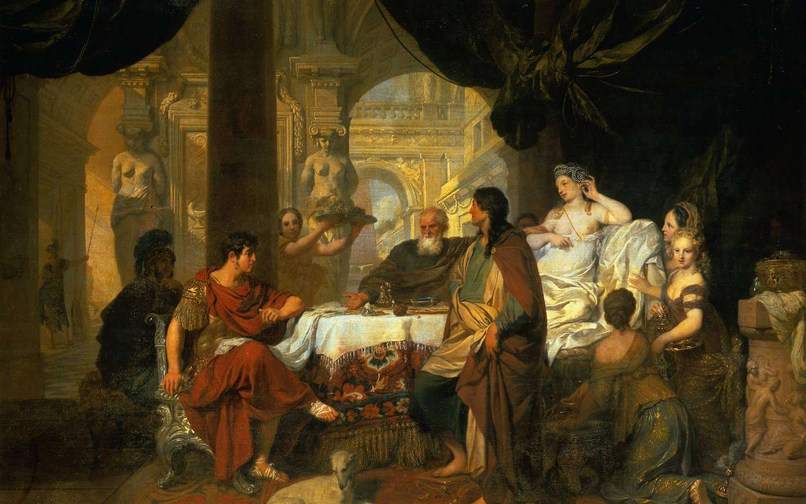Cléopâtre et Marc Antoine lors d'un banquet. Tableau intitulé Le Banquet de Cléopâtre et réalisé par Gérard de Lairesse (1640-1711). © Gérard de Lairesse, Wikimedia Commons, DP