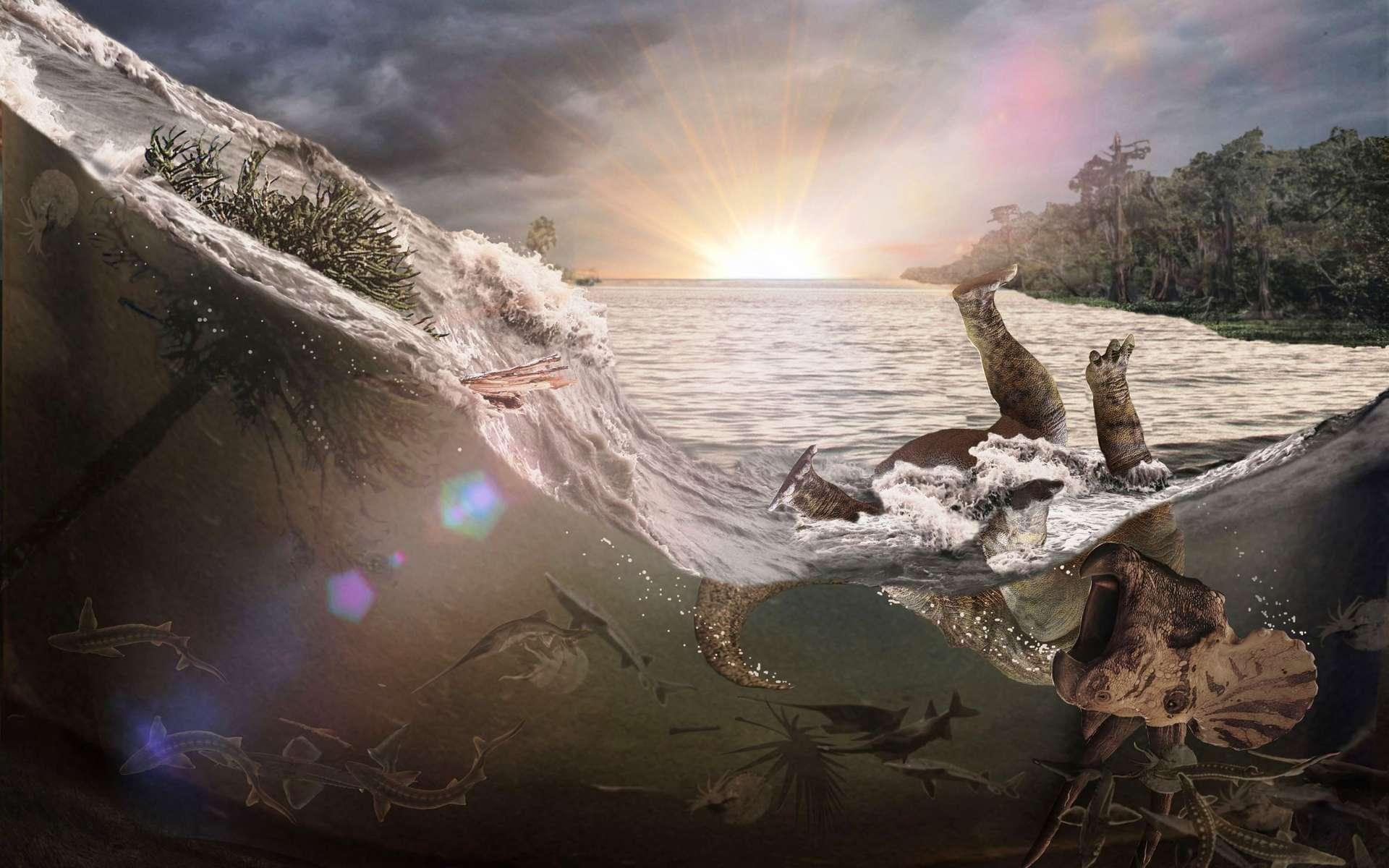 Une vue d'artiste des évènements à l'origine du site de Tanis, un instantané de la mort des dinosaures. © Robert DePalma