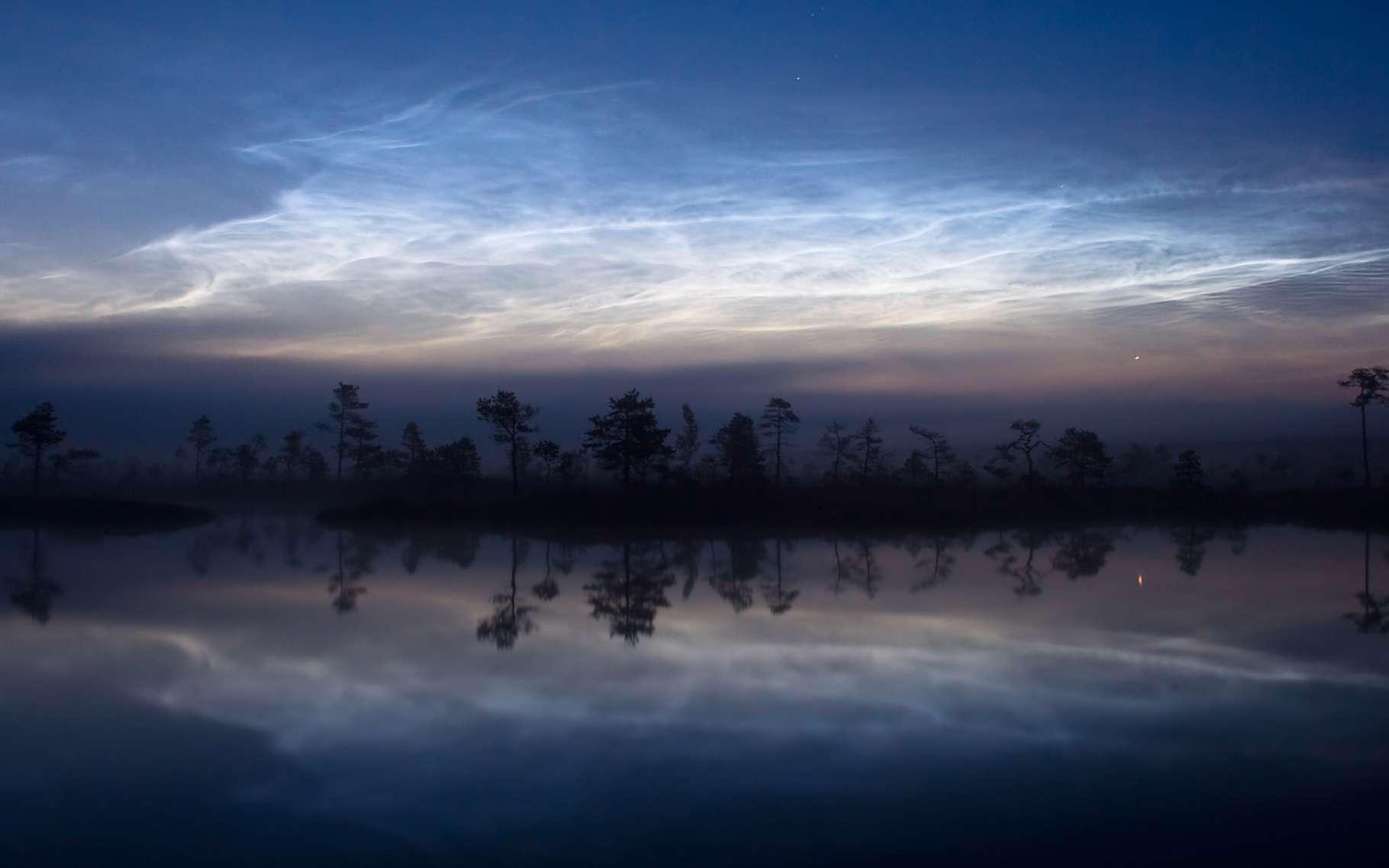 Les nuages noctulescents sont les nuages les plus hauts au monde : ils se forment à plus de 70 km d'altitude. © Martin Koitmäe, Wikipédia, CC by-SA 4.0