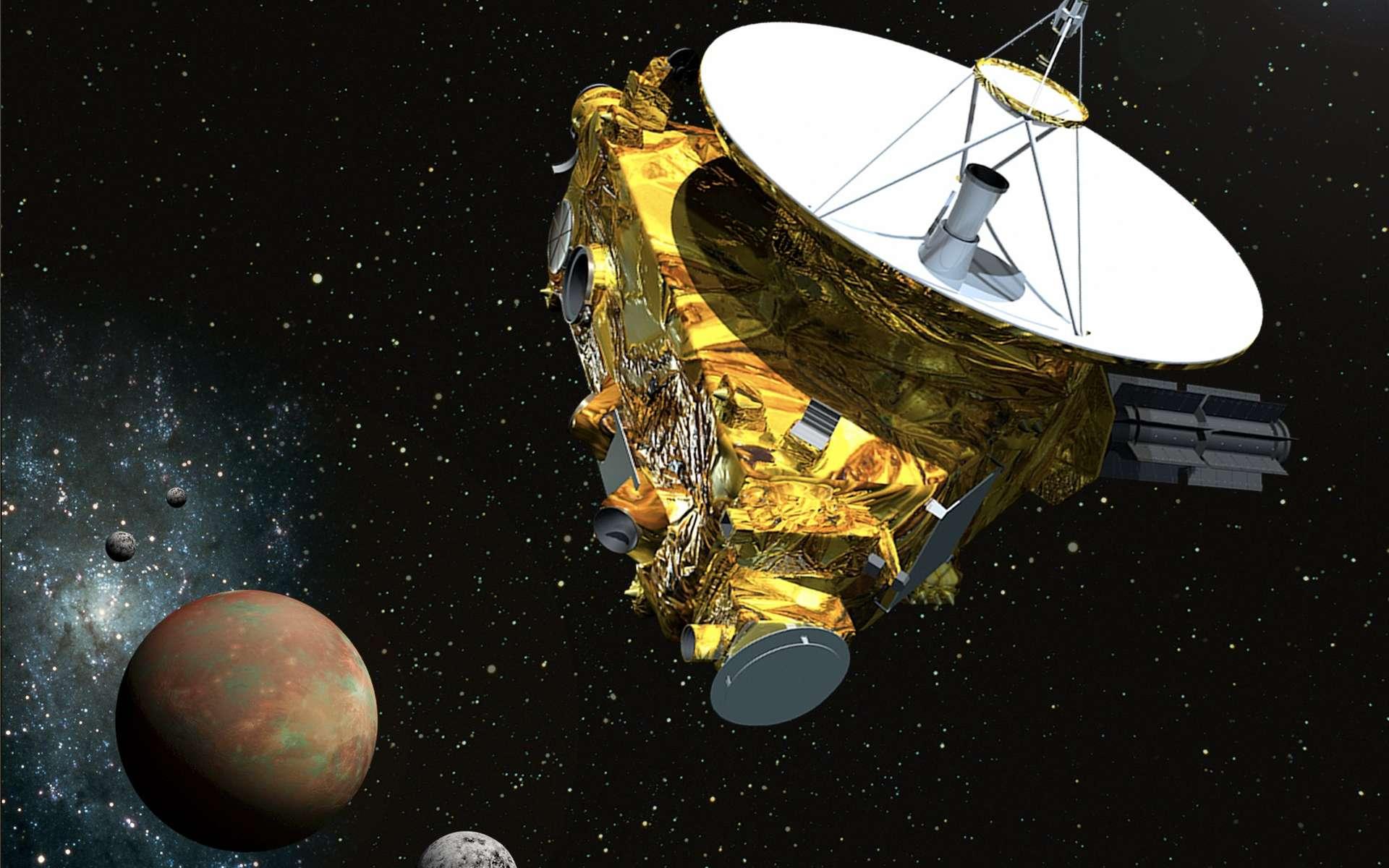 La petite sonde New Horizons (moins de 500 kg, ici en vue d'artiste à côté de Pluton et de Charon) est partie en 2006. Elle n'est qu'à huit jours de son survol historique, le 14 juillet prochain. © Nasa, JPL