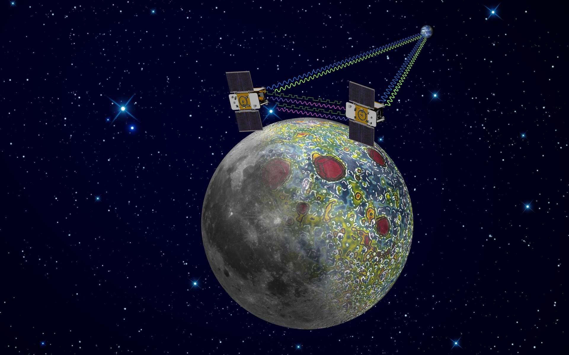 Les deux sondes de la mission Grail (Nasa) sont arrivées en orbite autour de la Lune. Elles s'apprêtent à cartographier le champ de gravité de notre satellite, ce qui permet de remonter à sa structure interne. © Nasa/JPL-Caltech