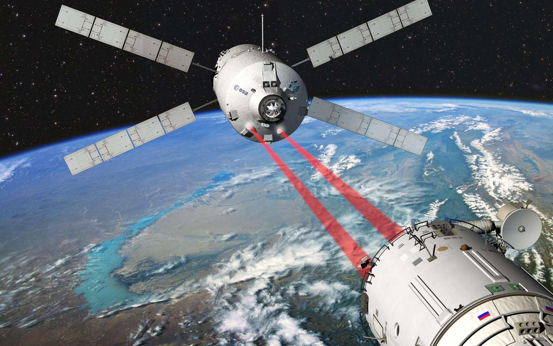 Une vue d'artiste de l'approche de l'ATV vers le module russe Zvezda de l'ISS. Elle montre deux faisceaux laser qui servent à contrôler le positionnement et la distance par rapport à la Station. Le système comprend en fait deux vidéomètres qui, dans les 300 derniers mètres, reconnaissent des réflecteurs installés sur l'ISS, et deux télégoniomètres, qui envoient des pulsations laser sur ces mêmes réflecteurs, et déterminent la distance et donnent une deuxième mesure de la direction de la trajectoire. © Esa/Ducros-2010