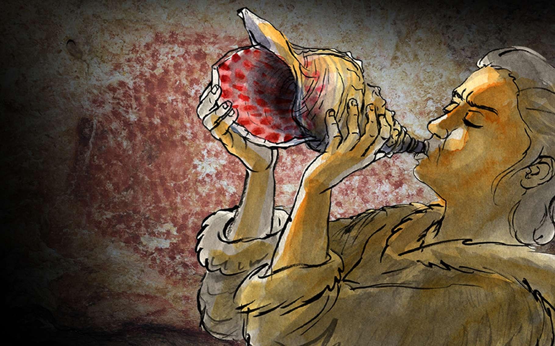 Cette illustration montre comment nos ancêtres se servaient peut-être du coquillage retrouvé dans la grotte de Marsoulas, dans les Pyrénées. Le coquillage est décoré à l'image des parois de la grotte. © Carole Fritz et al. 2021, illustration Gilles Tosello