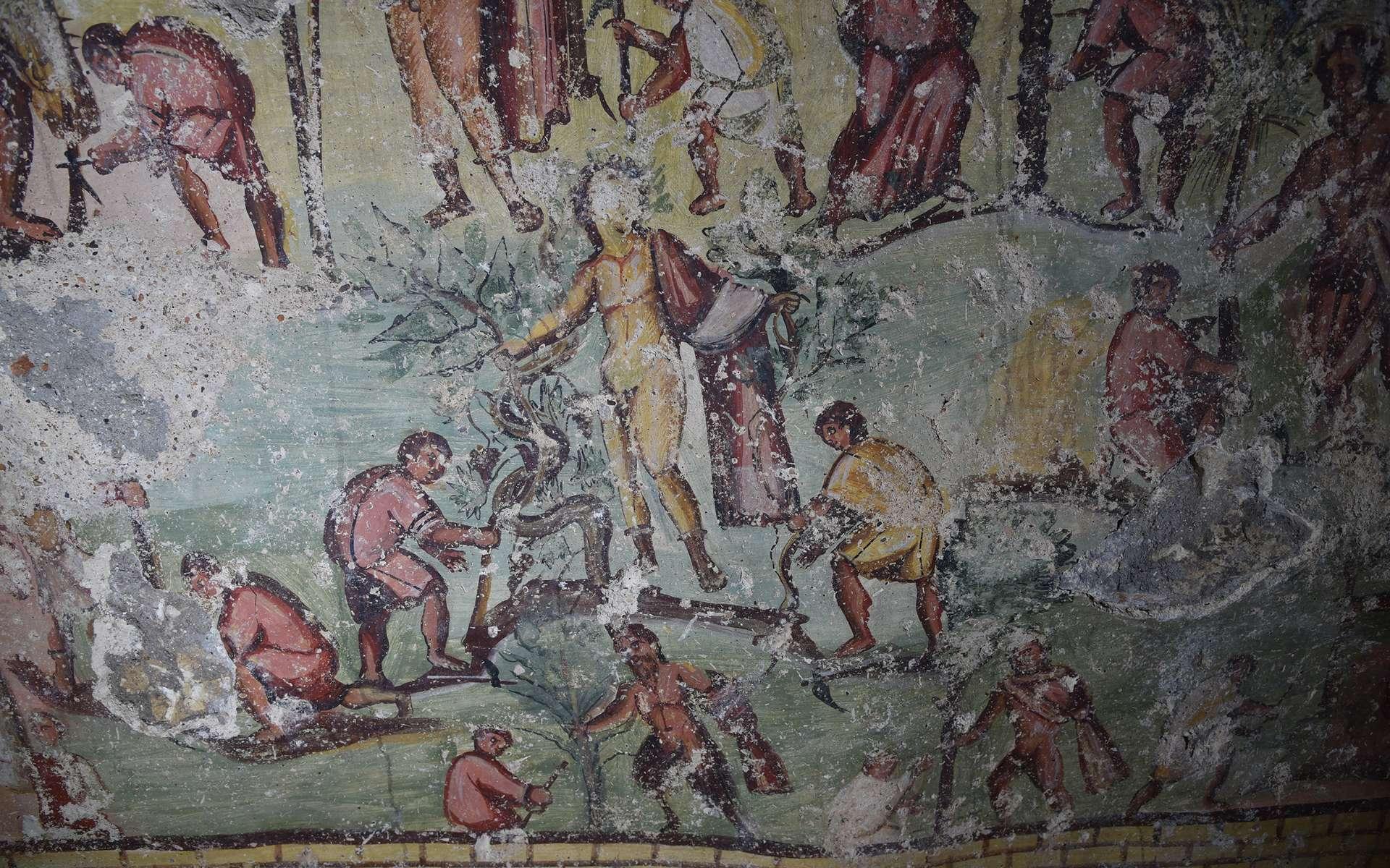 Scène illustrant le défrichage du site de Capitolias avec l'aide des dieux, dont Dionysos, dans un tombeau d'époque romaine mis au jour en Jordanie. Il présente une iconographie d'une richesse inégalée. © CNRS, Hisoma