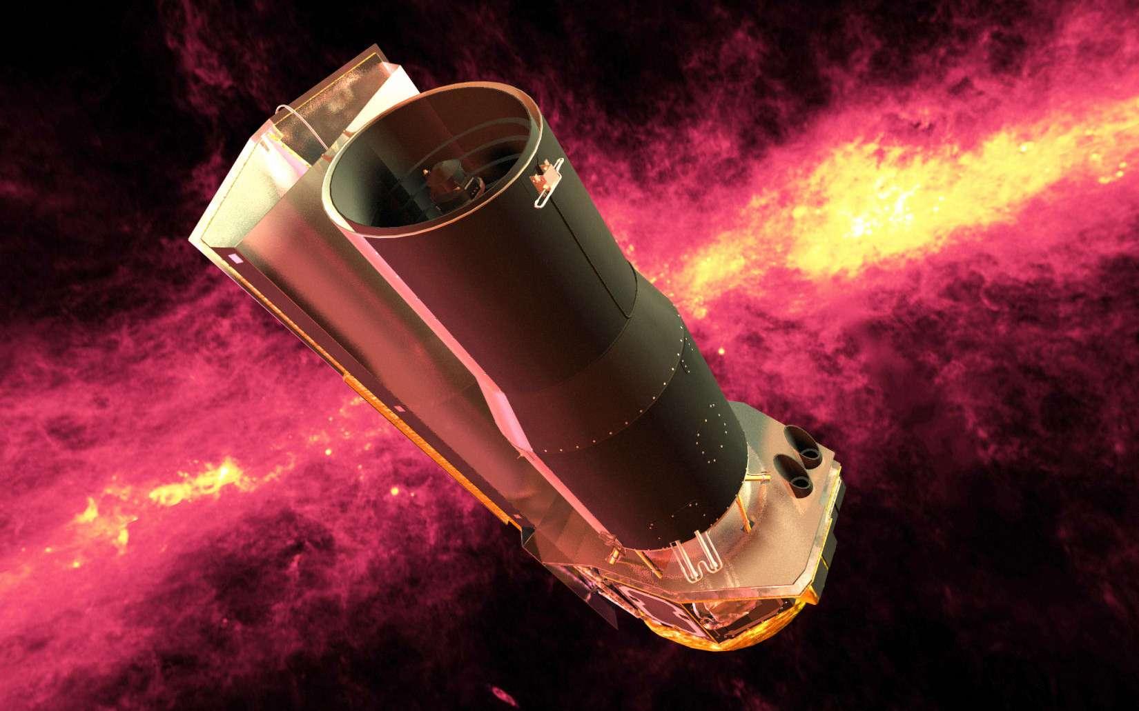 Une vue d'artiste du télescope spatial Spitzer. Lancé le 25 aout 2003, il a observé le ciel dans l'infrarouge jusqu'en mai 2009. À compter de cette date, ayant épuisé l'hélium liquide refroidissant ses capteurs, il continue à fonctionner en mode dit « chaud » jusqu'à la fin de la décennie 2010. © Nasa
