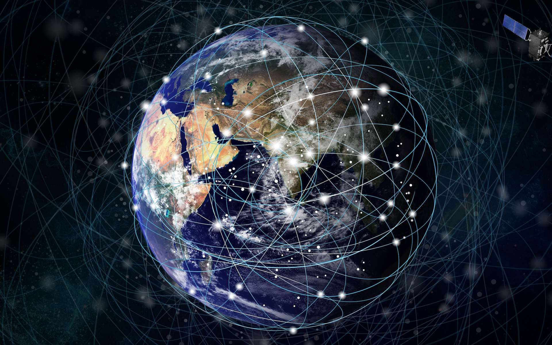Les satellites de l'essaim Starlink gênent les observations astronomiques depuis le sol terrestre. © nana, Adobe Stock