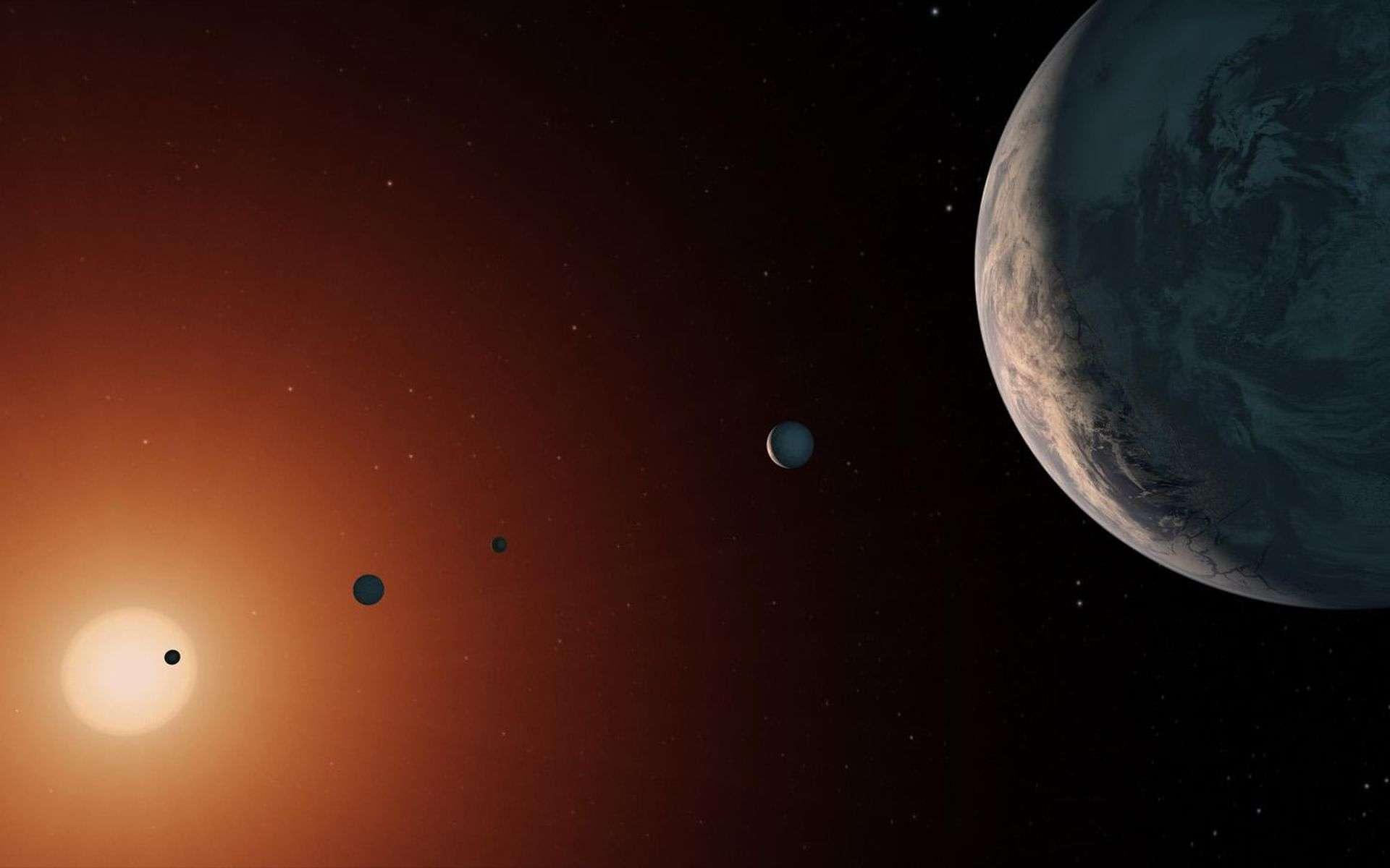 L'étoile Trappist-1 est-elle trop vieille pour abriter de la vie ? Ici, illustration du système de Trappist-1. Sept planètes rocheuses gravitent autour de cette naine rouge. Trois d'entre elles sont dans la zone habitable. © Nasa, JPL-Caltech