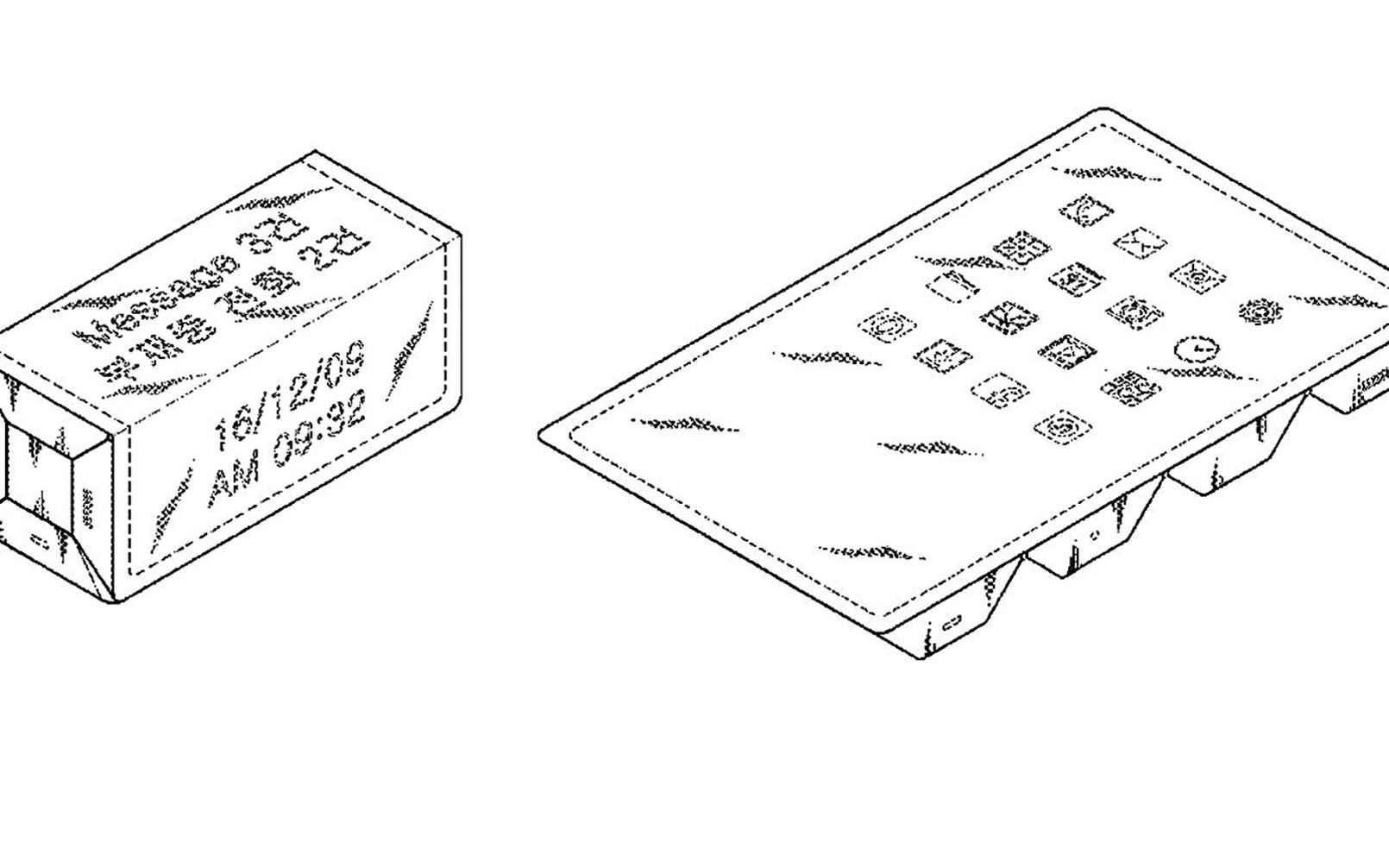 Sur les faces de l'appareil, des informations comme l'heure ou des notifications. Déplié, il laisse apparaître des icônes comme sur une tablette ou un smartphone classique. © Samsung, USPTO