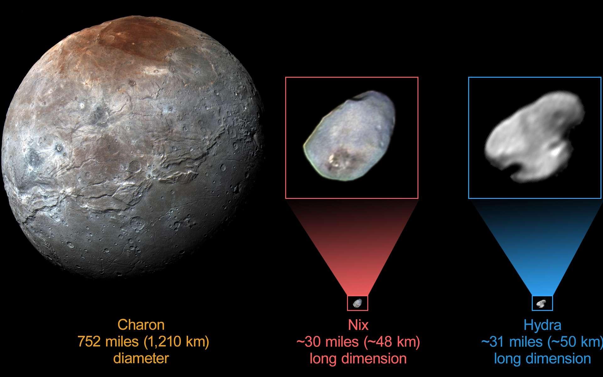 Comparaison de Charon, découvert en 1978, avec Nix et Hydre, deux satellites d'environ 50 km de long découverts en 2005. Lors de son passage dans le système de Pluton, New Horizons a pu imager en couleur Charon et Nix, mais pas Hydre, la plus externe de toutes. © Nasa, JHUAPL, SwRI