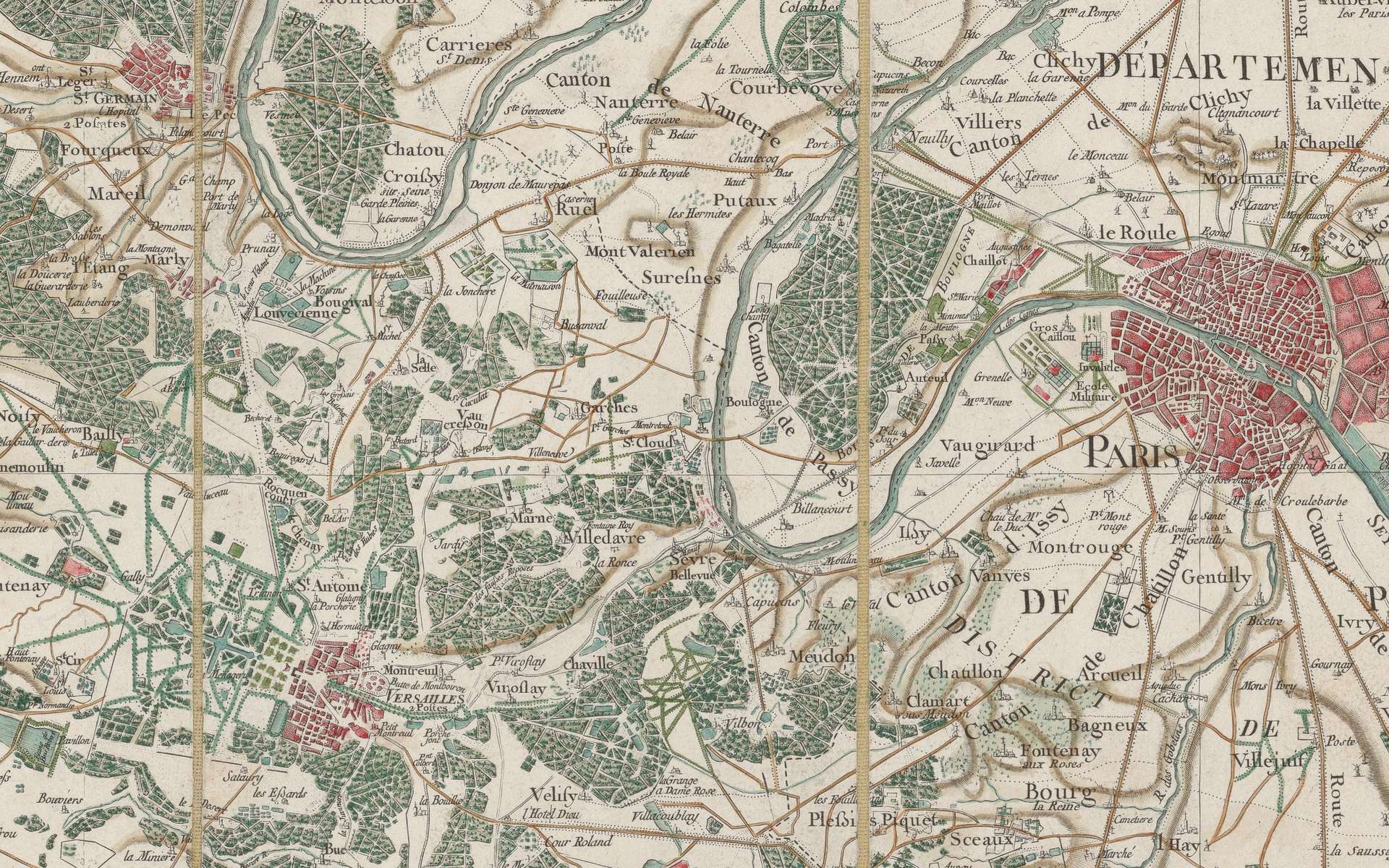 Extrait de la Carte générale de la France, feuille 1, Paris et environs (Vincennes, Versailles, Marly, Saint Germain en Laye...). Auteur : Cassini de Thury, 1756. Echelle 1/86.400e. Site Gallica, BnF. © Bibliothèque nationale de France, domaine public