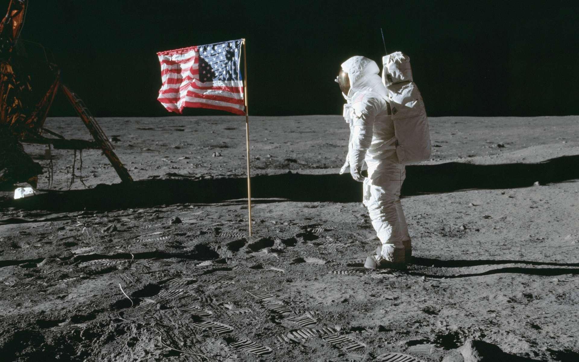 Le 20 juillet 1969, l'astronaute d'Apollo 11 Edwin Buzz Aldrin est le deuxième homme à marcher sur la Lune. © Nasa