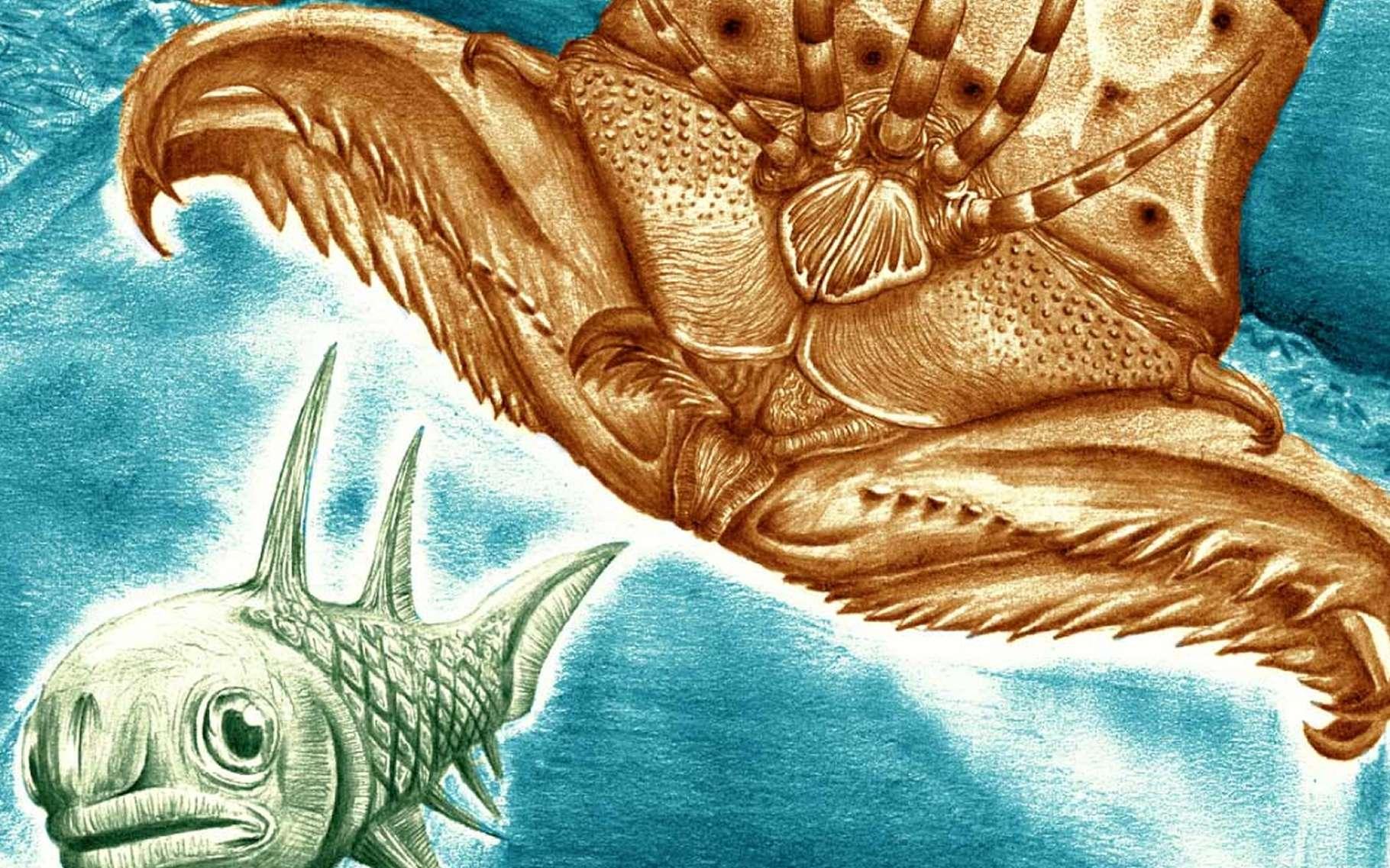 Illustration de ce ver géant du Dévonien. © James Ormiston