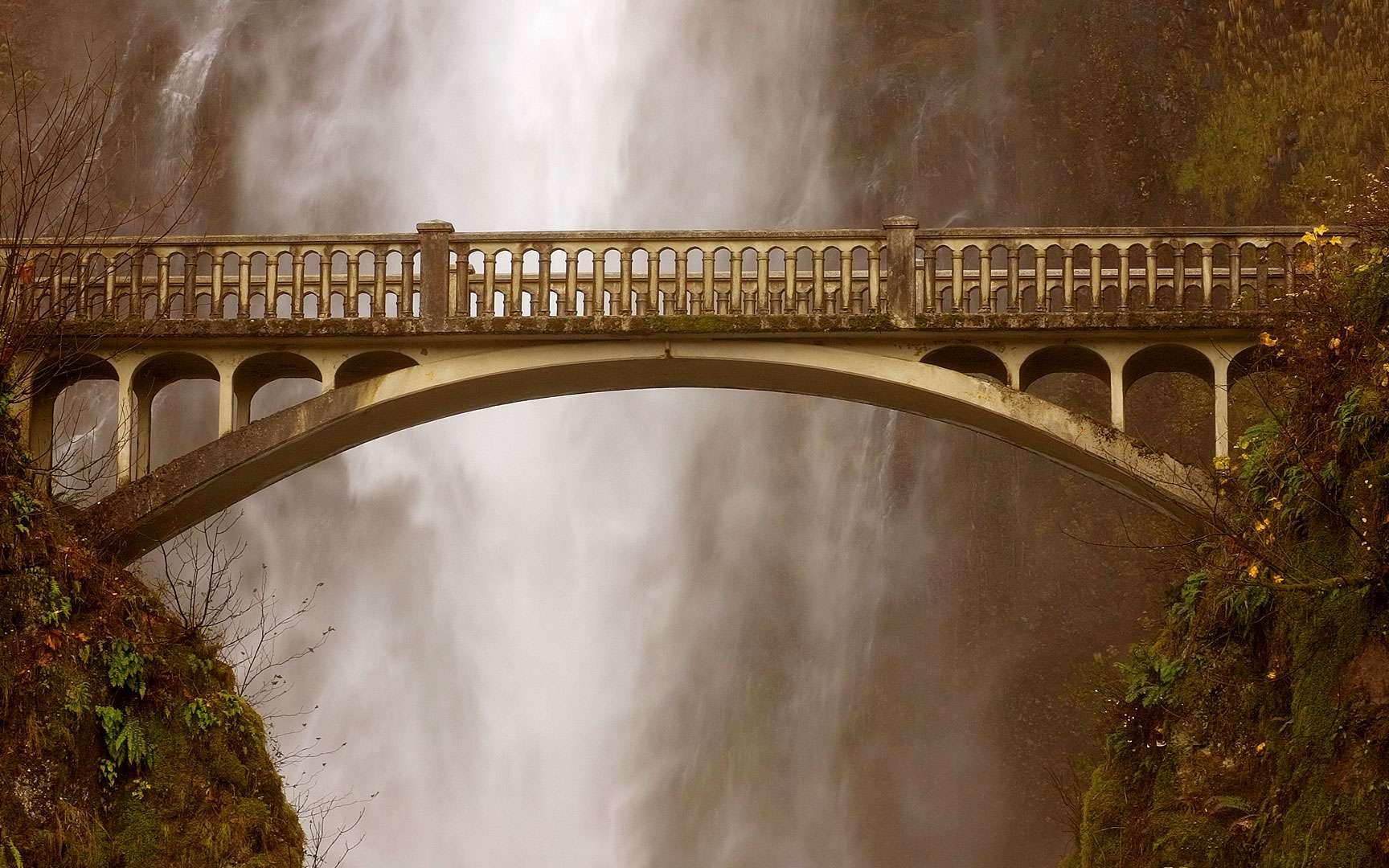 Le pont des chutes de Multnomah. Au-dessus des impressionnantes chutes d'eau de Multnomah, se dresse un pont du même nom. En janvier 2014, il a été victime d'une chute de pierres. Bien que les dégâts n'aient pas été trop importants, le pont est fermé depuis, en attente de réparations. Localisation : Oregon (États-Unis). © Paul M, Flickr, CC by-nc-nd 2.0