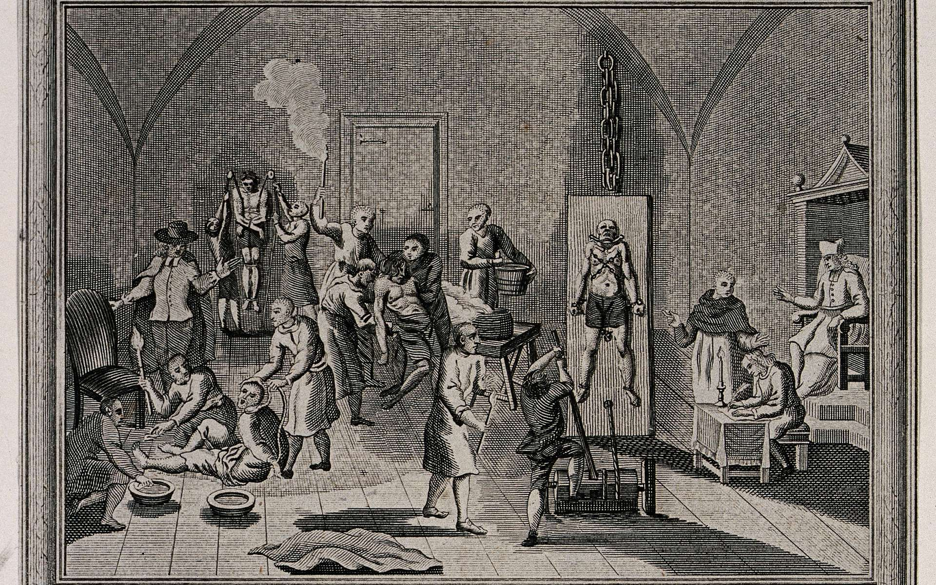 Prison espagnole lors de l'Inquisition, artiste inconnu. © Wellcome Images, Wikimedia Commons, CC by-sa 4.0