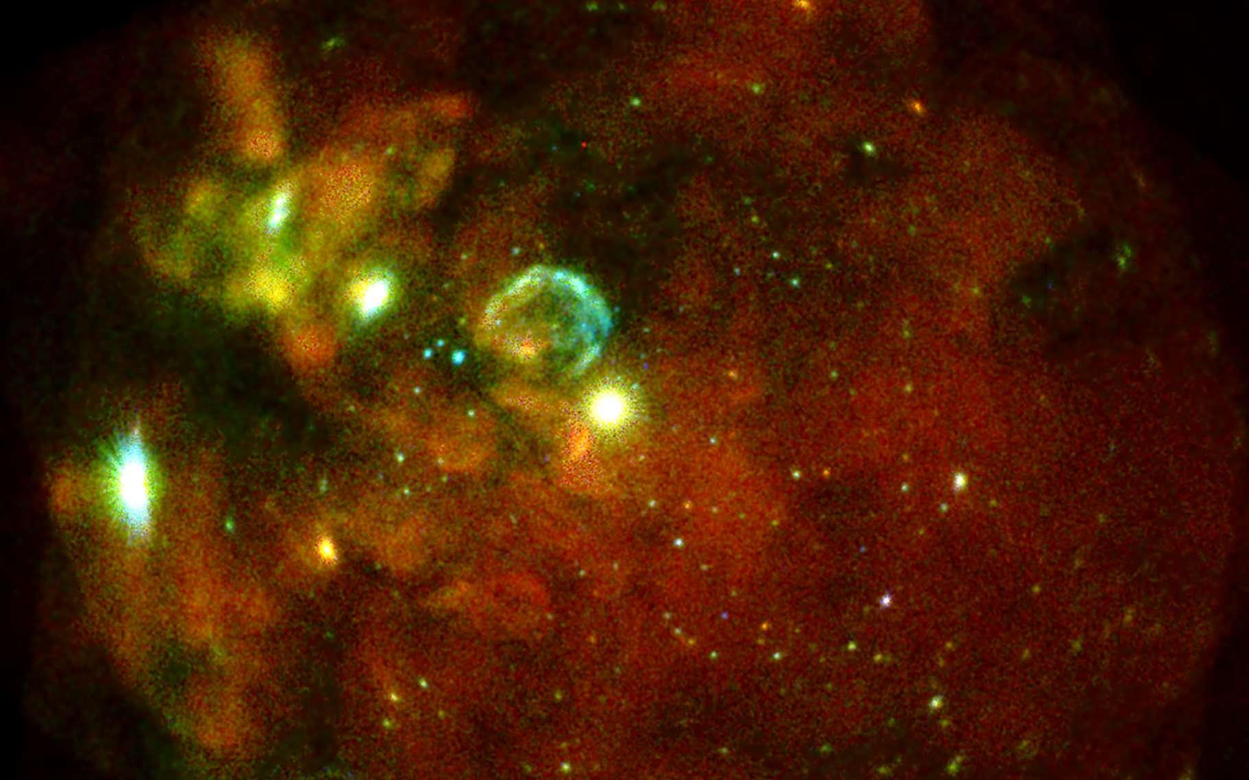 Une image du Grand Nuage de Magellan prise par les sept modules du télescope spatial eRosita entre le 18 et le 19 octobre 2019. © F.Haberl, M. Freyberg and C. Maitra, Max Planck Institute for Extraterrestrial Physics (MPE)/IKI