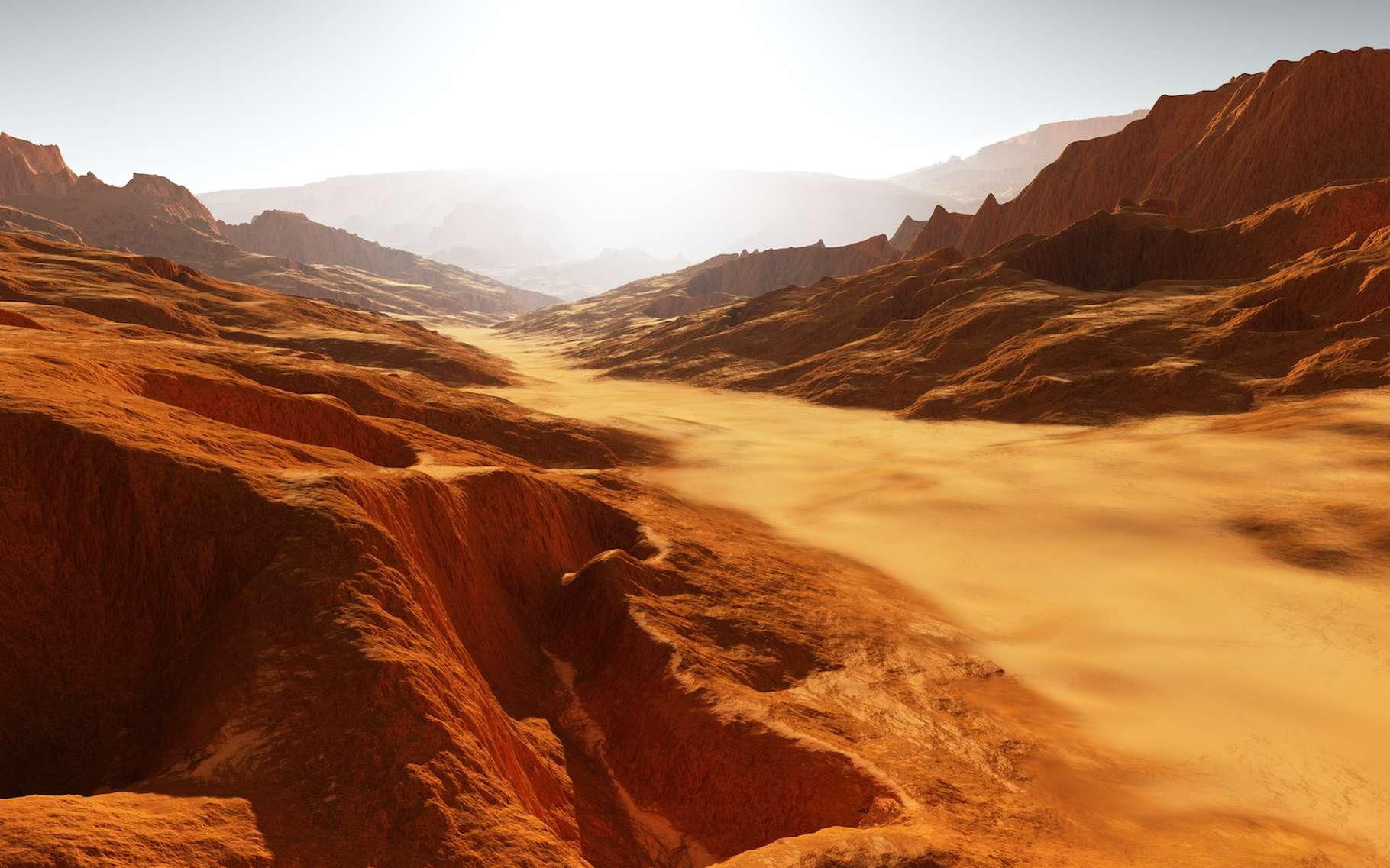 Des astronomes de l'université du Texas (États-Unis) ont étudié les vallées fluviales qui serpentent à la surface de Mars. Ils concluent que des inondations massives sont à l'origine du visage actuel de la Planète rouge. © Peter Jurik, Adobe Stock