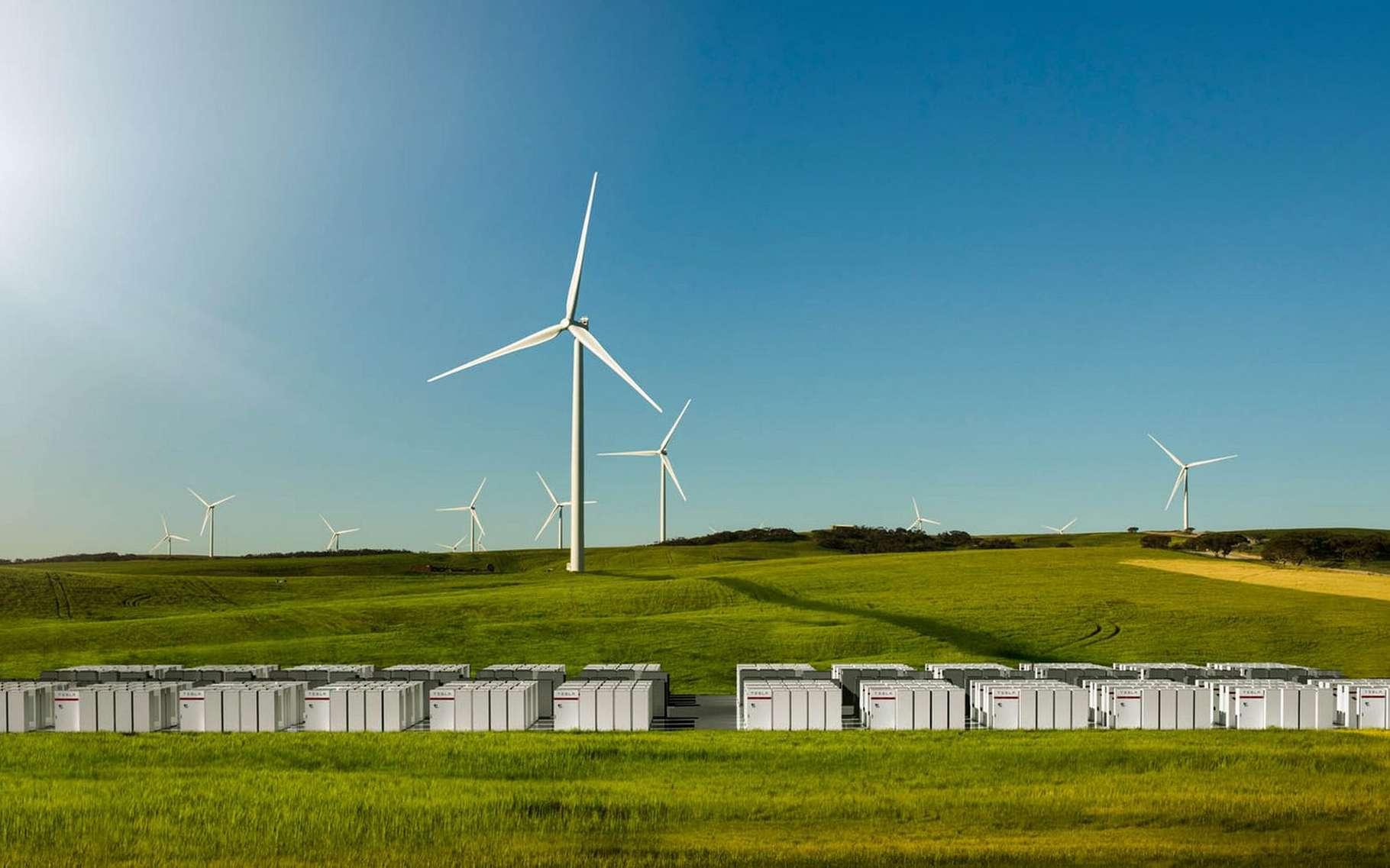 Tesla a construit la plus grande batterie du monde en Australie. Ce système de stockage d'énergie sera couplé au parc éolien de la société française Neoen, à Hornsdale (Australie). © Tesla