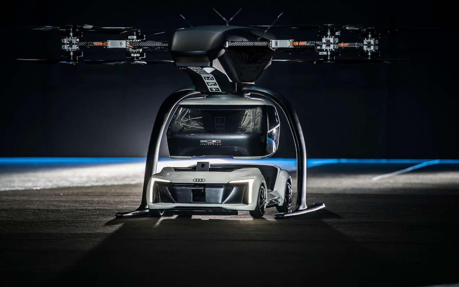 Le concept Pop.Up imaginé par Airbus, Audi et Italdesign prend le contre-pied des projets de voitures volantes existants, en créant une capsule indépendante qui vient se connecter à un module automobile ou aérien. © Airbus, Audi, Italdesign