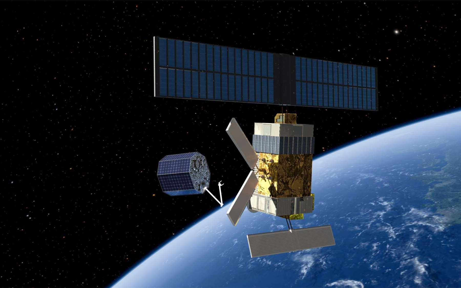 Une des technologies e.DeOrbit envisagées pour capturer un satellite non coopératif. De nombreuses stratégies sont à l'étude pour retirer de gros débris spatiaux et contrôler la population de déchets en orbite. © Esa, Mixed-Reality Communication GmbH