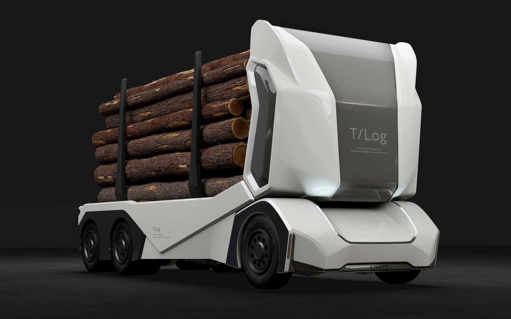 Un rendu du camion T-Log dont le lancement est prévu en 2020. © Einride
