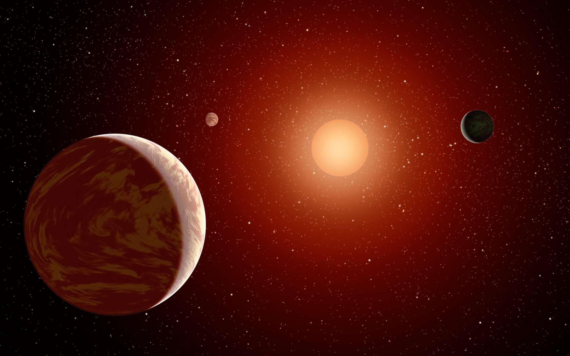 Vue d'artiste d'une étoile naine rouge avec trois exoplanètes en orbite qui pourraient éjecter des comètes dans le milieu interstellaire. © Nasa, JPL-Caltech