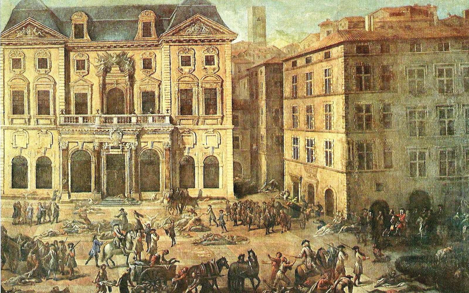 Tableau de Michel Serre représentant l'hôtel de ville de Marseille pendant la peste de 1720. © Robert Valette, Wikipedia