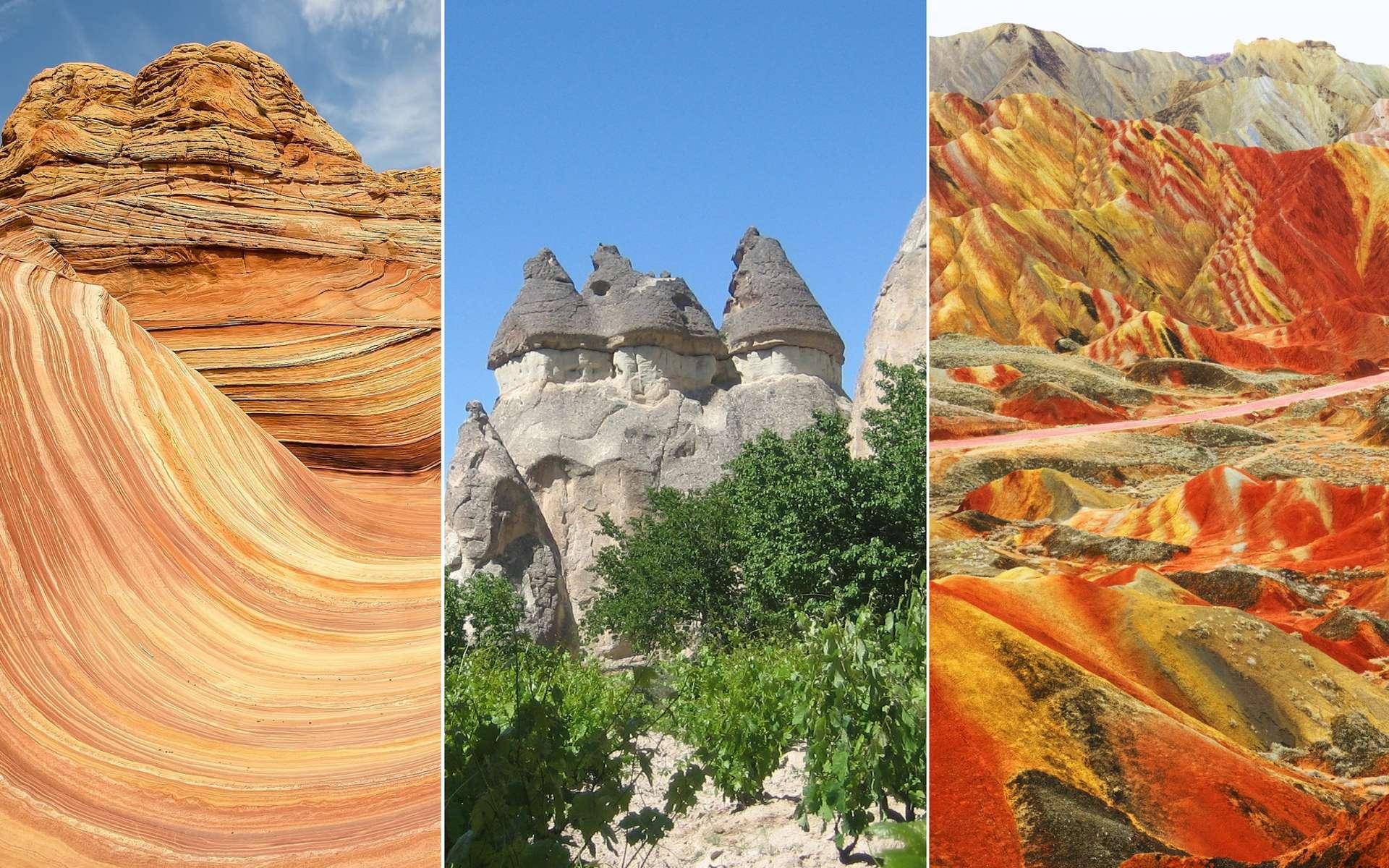 Ces rochers ont été sculptés par le temps. © Michael Wilson, Flickr ; Sam Michel, Flickr ; PhotoElite, Fotolia