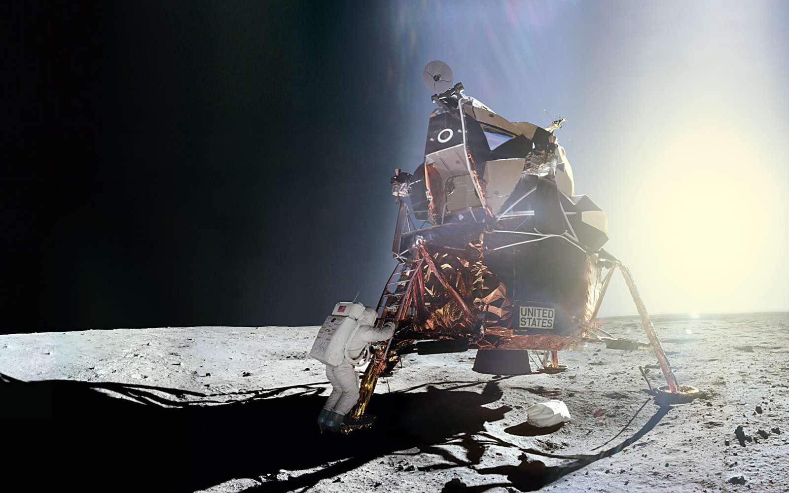 Moment de gloire... et d'éternité.. Moment de gloire... et d'éternité. Aldrin, ici photographié par Armstrong, reproduit les mêmes gestes qui viennent de faire l'histoire. Le vieux rêve de l'humanité s'est enfin réalisé : on a marché sur la Lune ! (Apollo 11) ''Images NASA/JSC, Retraitements O. de Goursac, « LUNE », Tallandier, 2008''