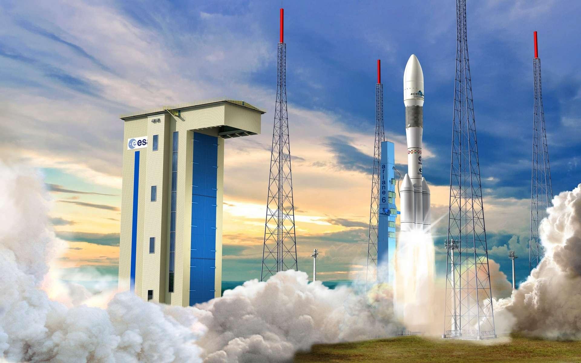 Une vision d'Ariane 6, qui sera modulaire, montrant une forme possible, avec deux propulseurs latéraux à poudre, formant le premier étage. Le deuxième étage, au milieu, porte un propulseur du même type et le troisième étage est, lui, à propulsion cryotechnique (hydrogène et oxygène liquides). © Cnes, David Ducros, 2013