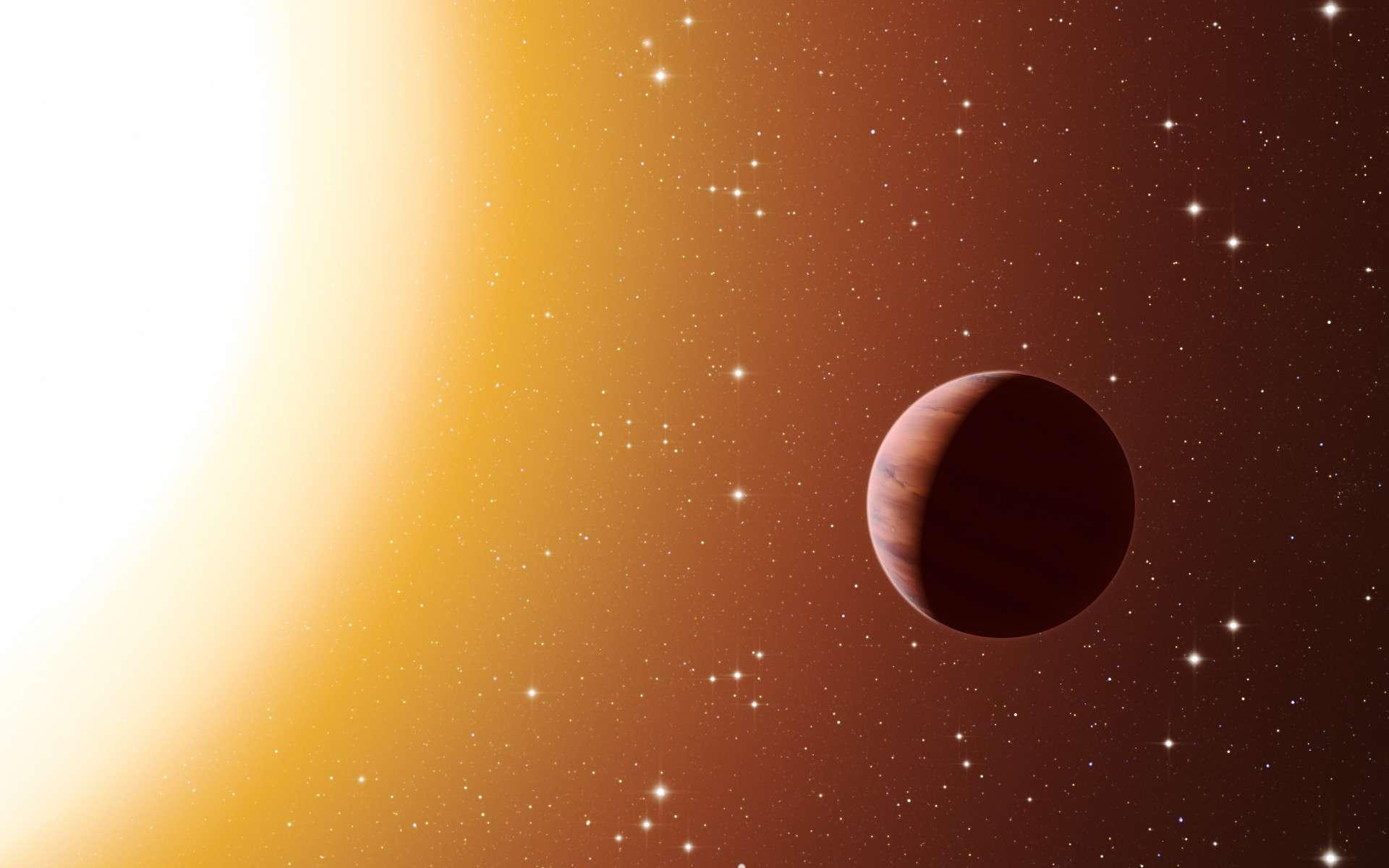 Sur cette vue d'artiste, figure une planète de type Jupiter chaud en orbite proche, autour de l'une des étoiles du riche et vieil amas Messier 67 dans la constellation du Crabe. Les astronomes ont découvert, au sein de l'amas, bien plus de planètes de ce type que prévu. Ce surprenant résultat fait suite à l'utilisation de divers télescopes et instruments, parmi lesquels le spectrographe Harps, à l'Observatoire de La Silla de l'ESO, au Chili. L'environnement plus dense d'un amas favorise de plus fréquentes interactions entre planètes et étoiles proches, ce qui peut expliquer cet excès de Jupiters chauds. © ESO/L. Calçada