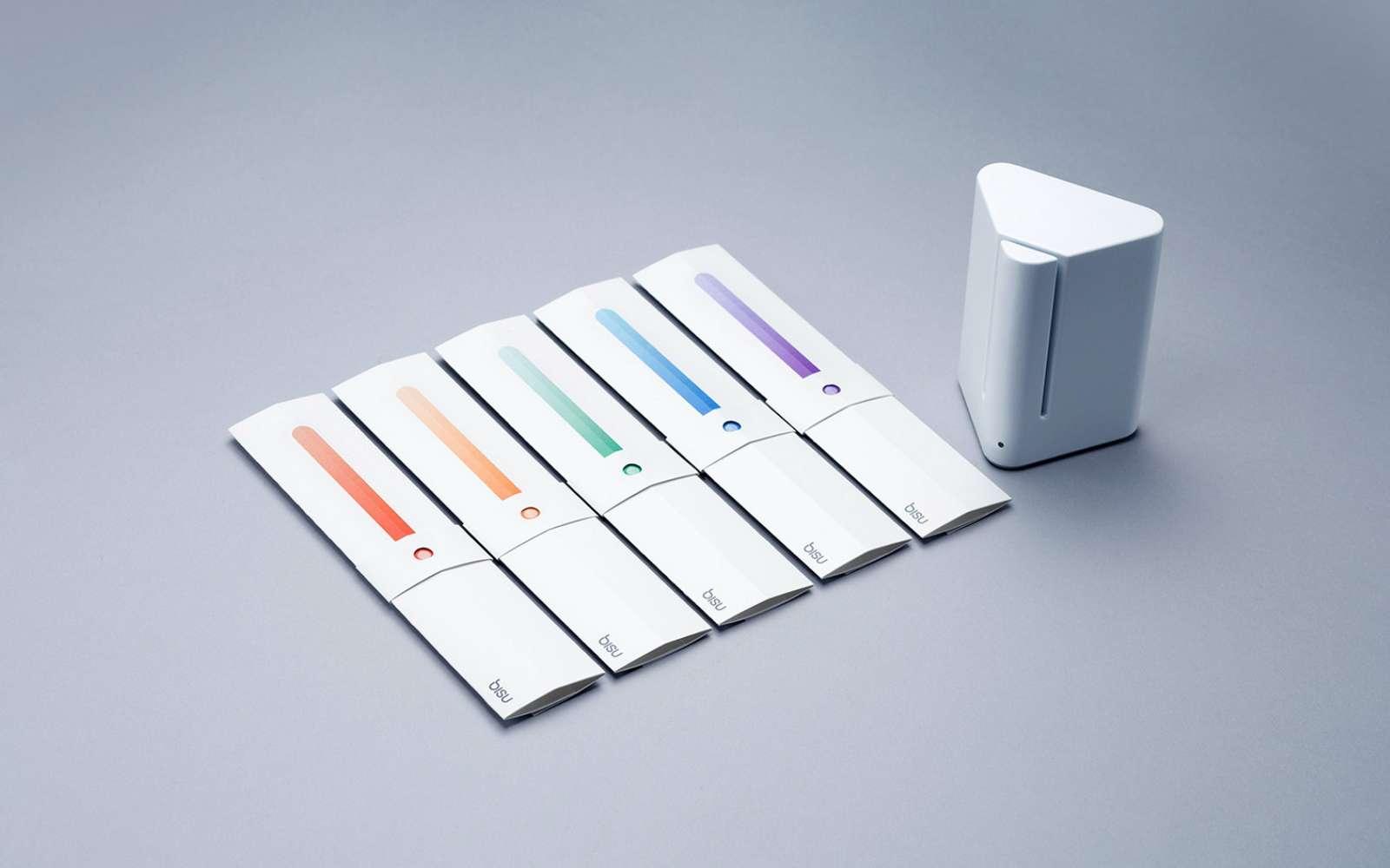 Ce mini-laboratoire à bandelettes microfluidiques peut analyser jusqu'à 11biomarqueurs simultanément. © Bisu