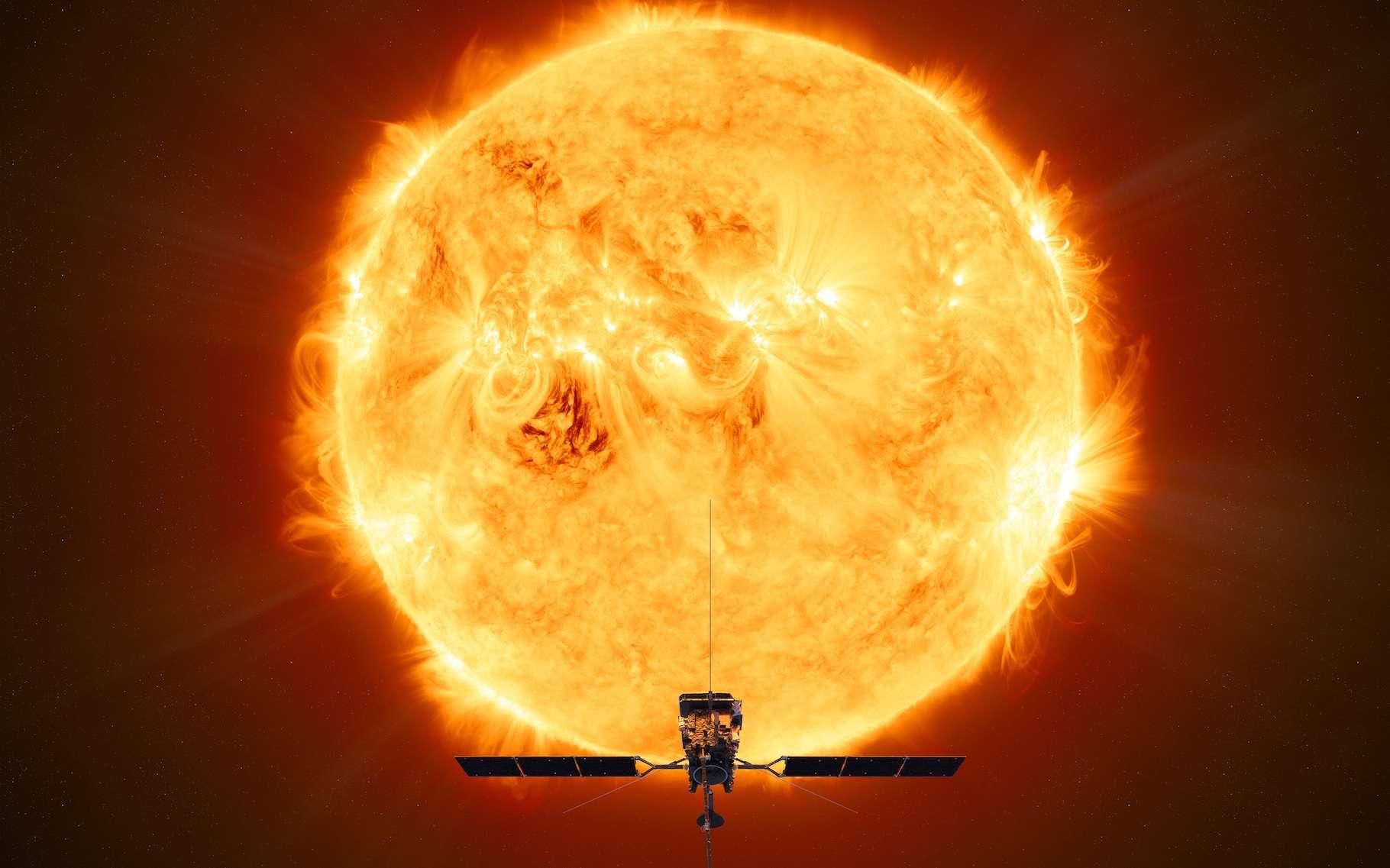 Des données recueillies par la mission Solar Orbiter ont permis à des chercheurs de développer des modèles qui montrent que des reconnexions se produisant au niveau de « feux de camp » à la surface du Soleil pourraient expliquer le chauffage de la couronne solaire. © ATG medialab, ESA