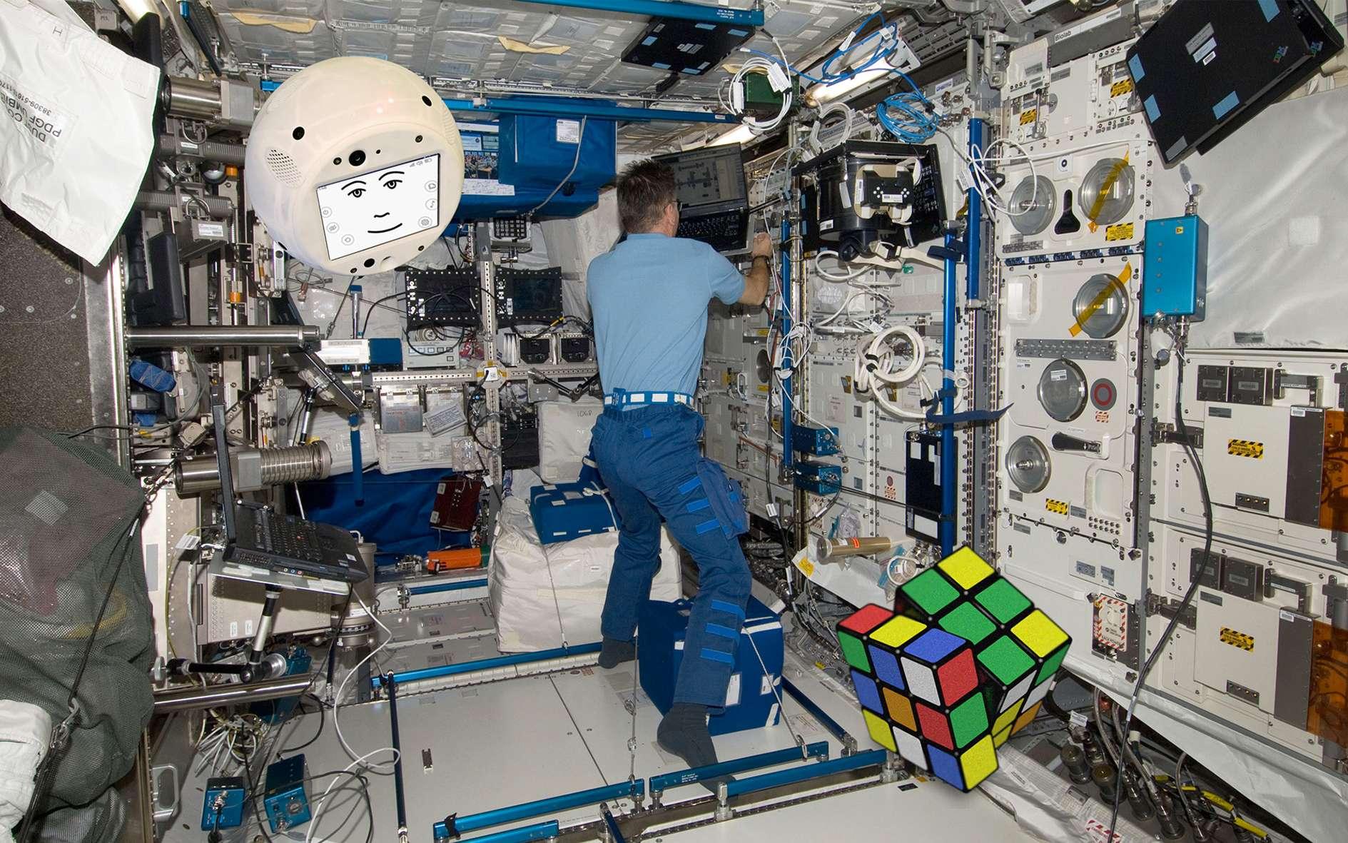 L'intelligence artificielle Cimon est un système d'aide aux astronautes. Elle volera à bord de l'ISS de juin à octobre 2018, pour le compte de l'administration spatiale du DLR. © Airbus