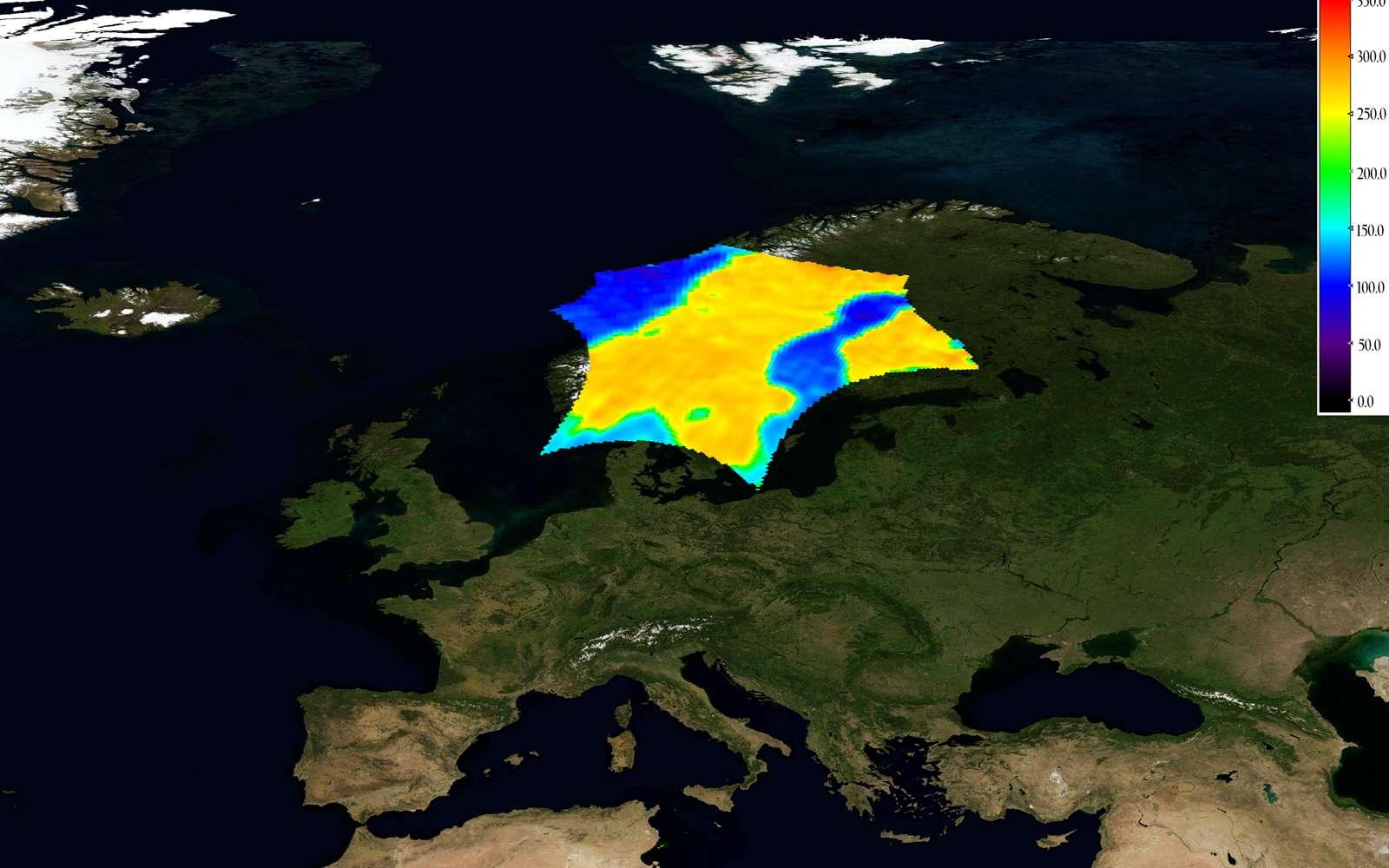 Une des premières images acquises par Smos de la « température de brillance », une mesure du rayonnement émis par la surface terrestre, le bleu symbolisant les températures les plus basses et le rouge les températures les plus élevées. Crédit Esa