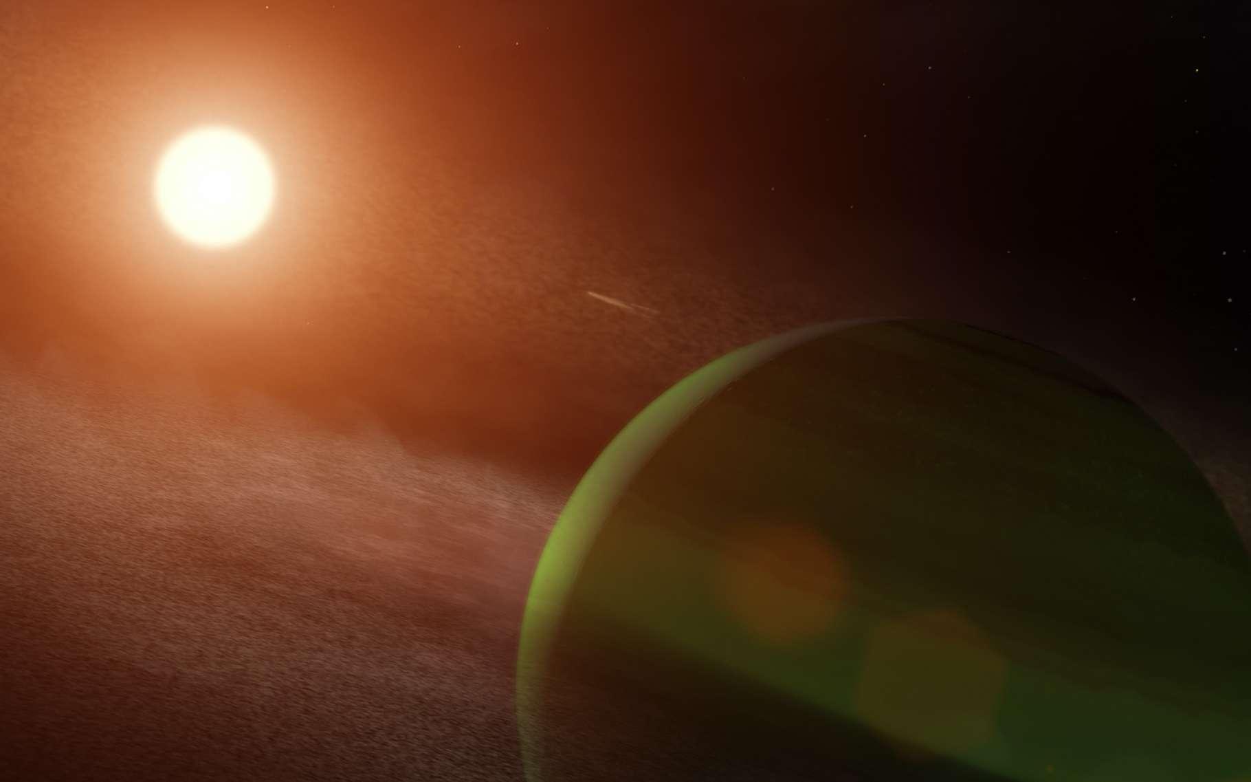 Les astronomes de la Nasa (États-Unis) ont découvert une planète en orbite autour de la jeune étoile AU Microscopii. © Nasa