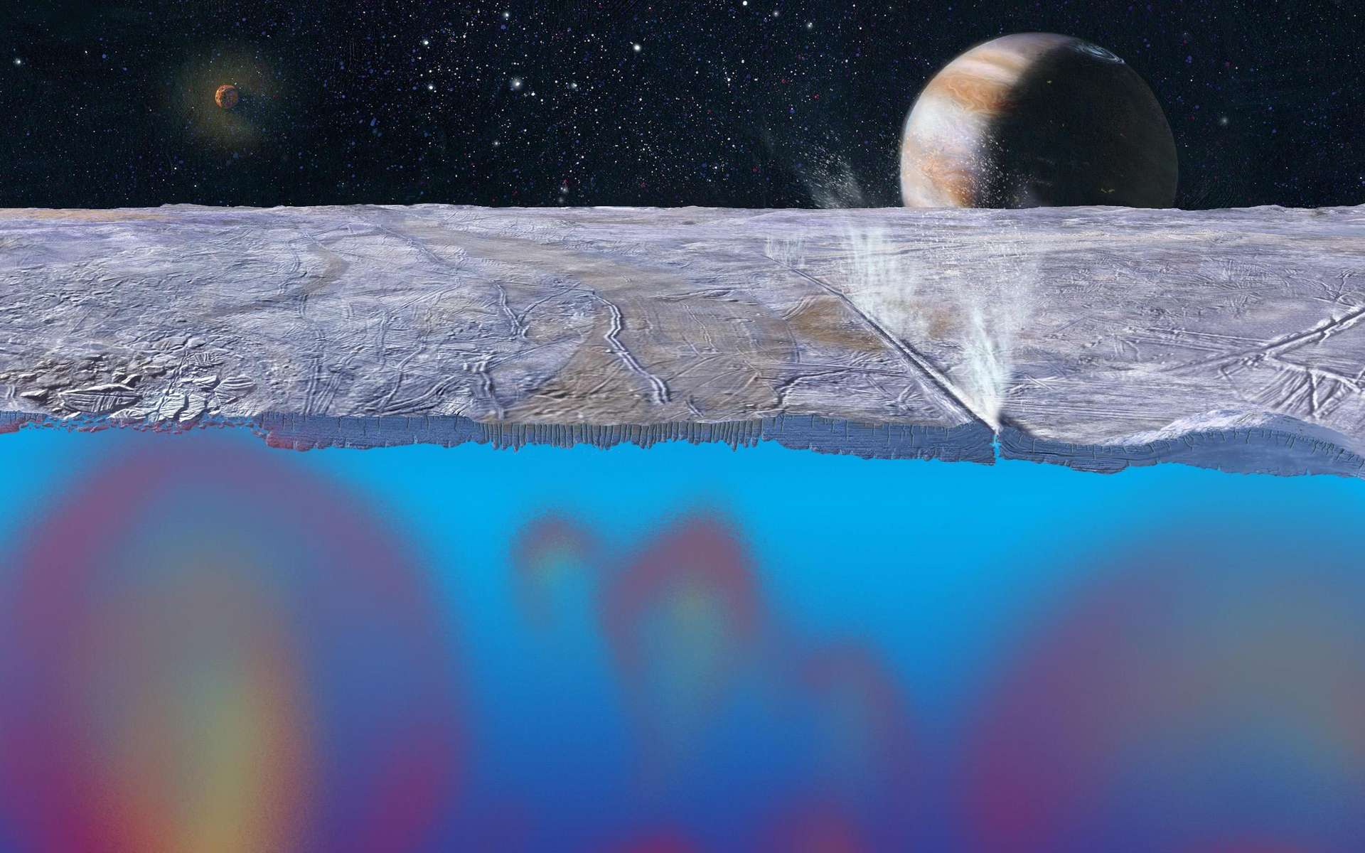 Sous la surface gelée d'Europe, un océan susceptible d'accueillir la vie. © JPL, Michael Carroll, Nasa