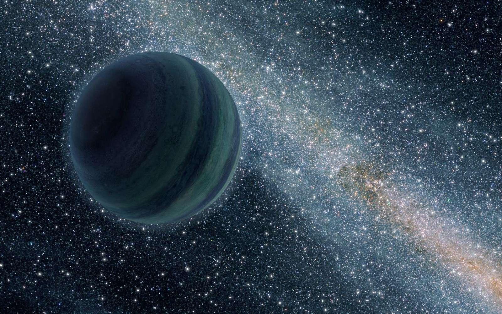 Une vue d'artiste du passage d'une exoplanète gazeuse éjectée de son lieu de formation, une planète errante dans la Voie lactée. © Nasa, JPL-Caltech