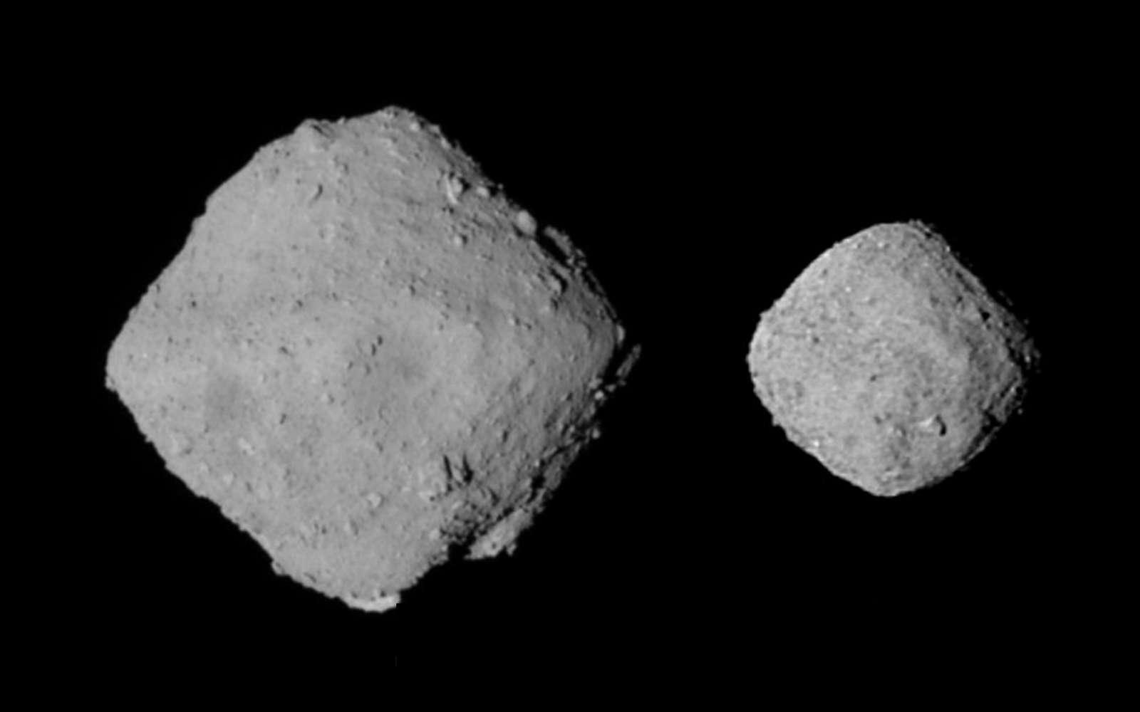 Comparaison de Ryugu (à gauche) avec Bennu (à droite), plus petit. © Jaxa, Nasa, Emily Lakdawalla