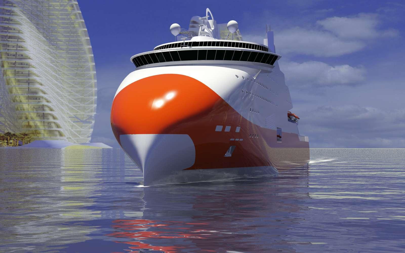 Le projet de ferry au GNL réalisé par STX France pour Brittany Ferries a été abandonné mais l'idée de grands navires propulsés grâce au gaz naturel perdure. © STX