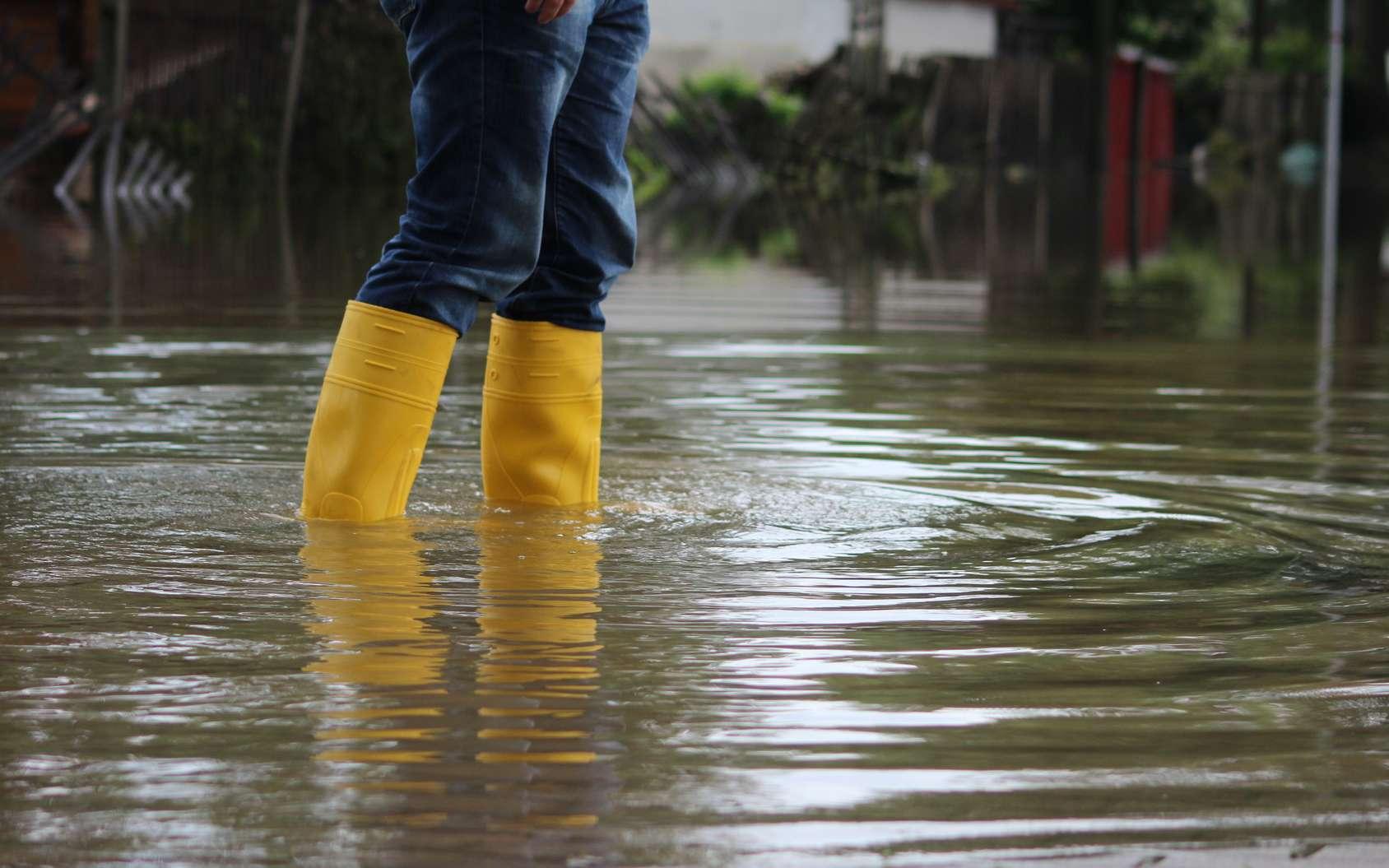 Inondation d'un quartier construit dans une ancienne zone humide après une crue de la rivière Aa. © Rico Löb, Fotolia