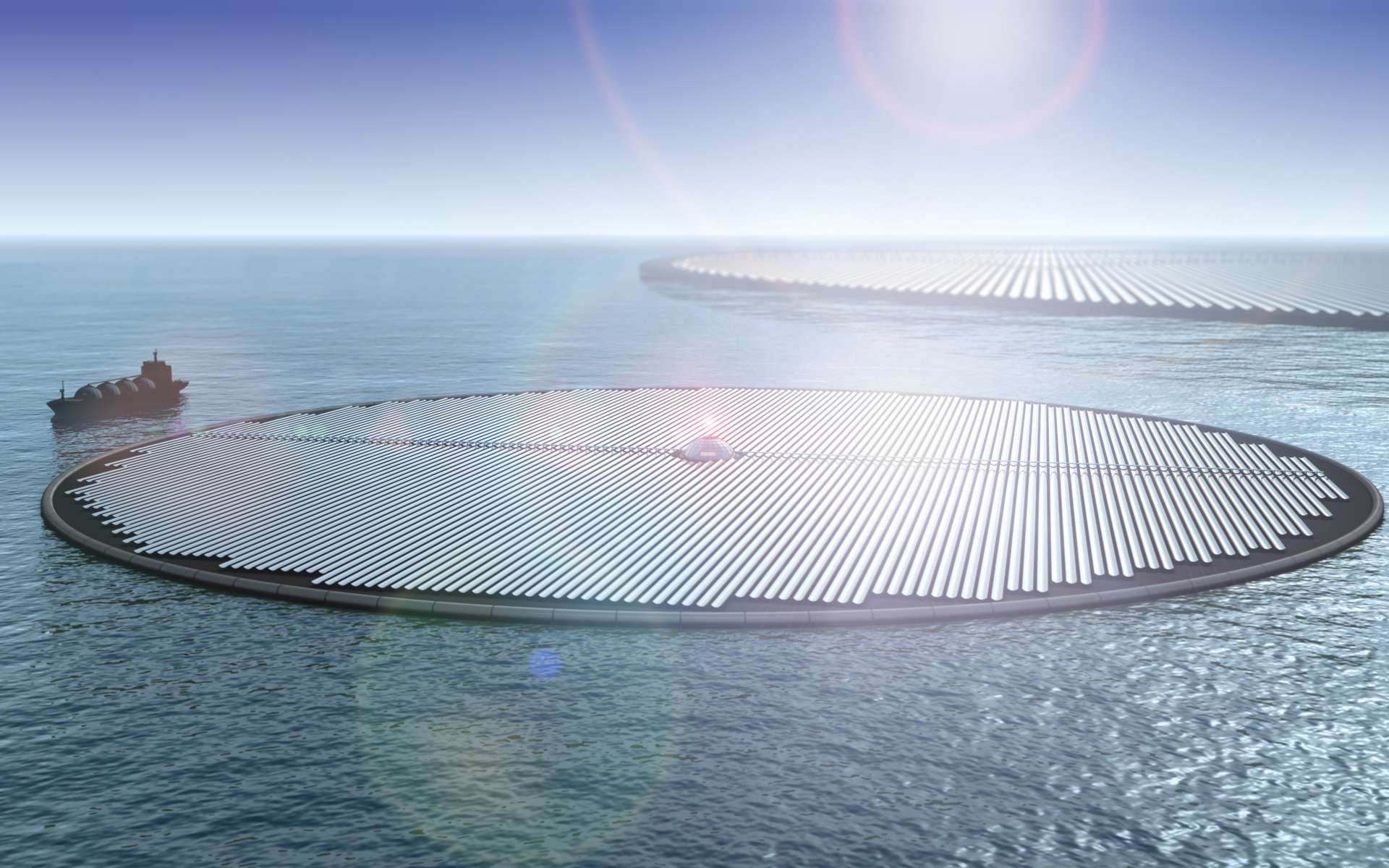 Des îles solaires et des bateaux-usines pour fabriquer du méthanol à bilan carbone neutre. © Novaton