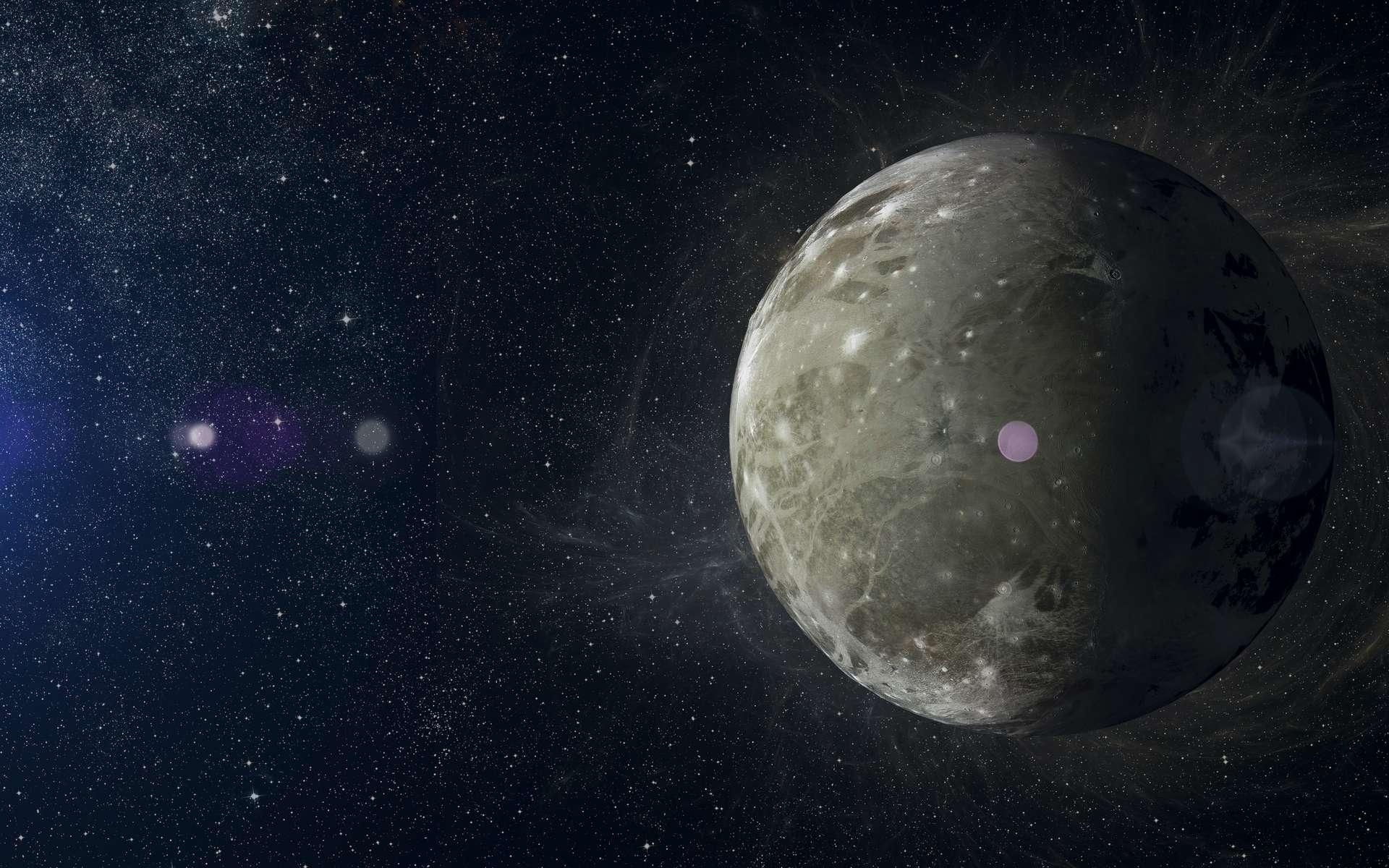 Selon des chercheurs de l'université de Kobe (Japon), Ganymède, une lune de Jupiter, porterait les traces du plus grand cratère d'impact du Système solaire. © Igor_Filonenko, Adobe Stock