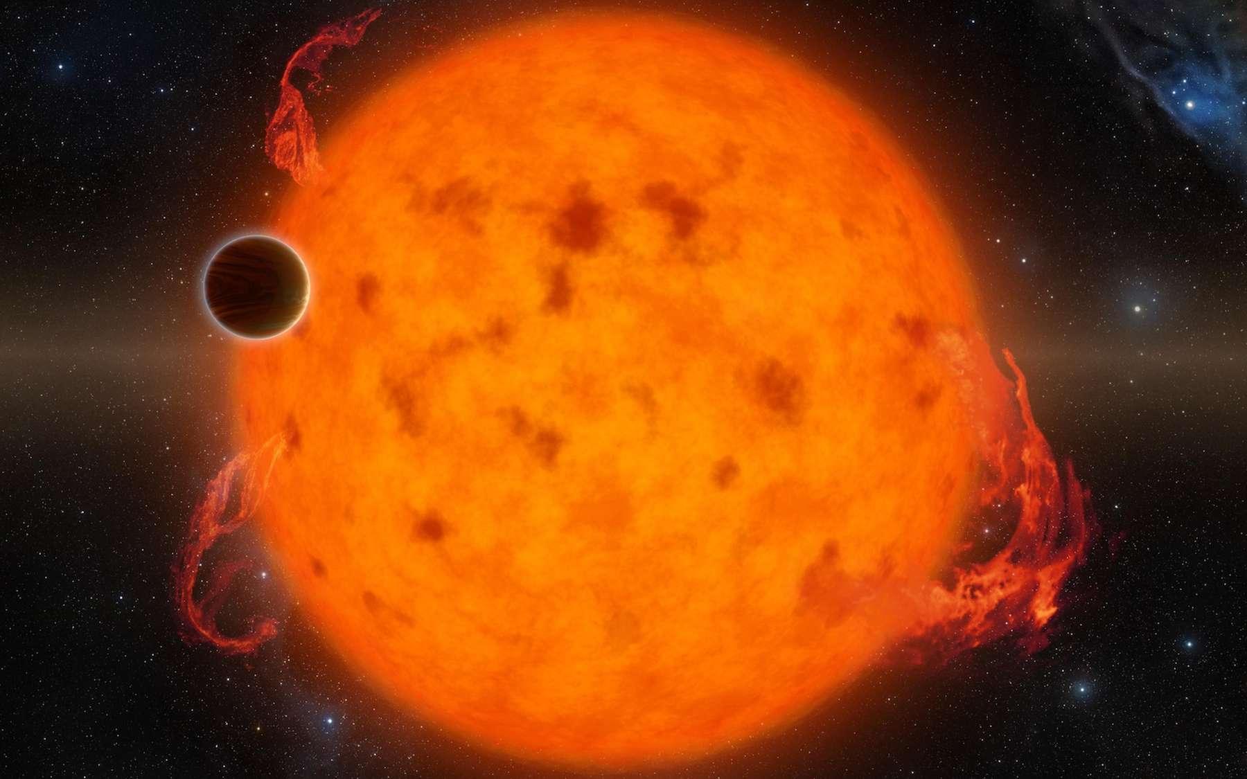 Illustration de K2-33b, une des plus jeunes exoplanètes jamais découvertes par transit. Comparable à Neptune en taille et peut-être en masse, elle est déjà installée sur une orbite rapprochée de son étoile. Son âge est estimé par une des deux équipes qui l'a étudiée entre 5 et 10 millions d'années. S'est-elle formée sur place, si près de son soleil, ou bien a-t-elle migré rapidement? © Nasa, JPL-Caltech